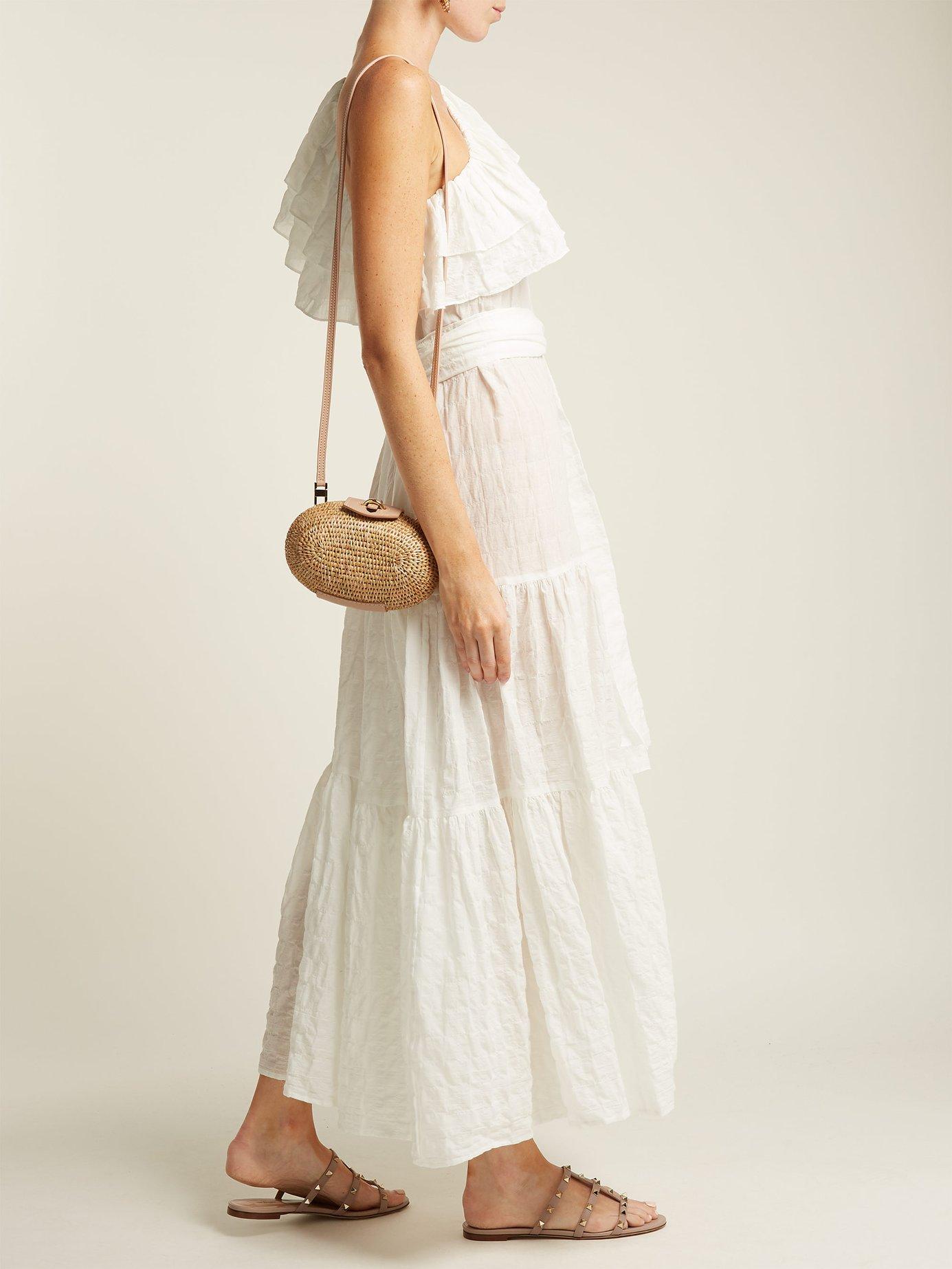 Arden one-shoulder cotton-blend seersucker dress by Lisa Marie Fernandez