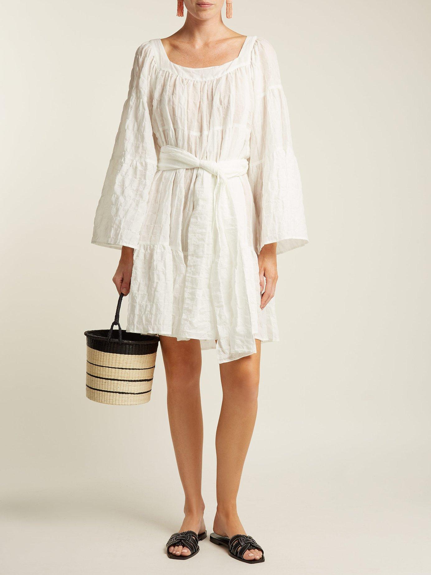 Tie-waist cotton-blend dress by Lisa Marie Fernandez