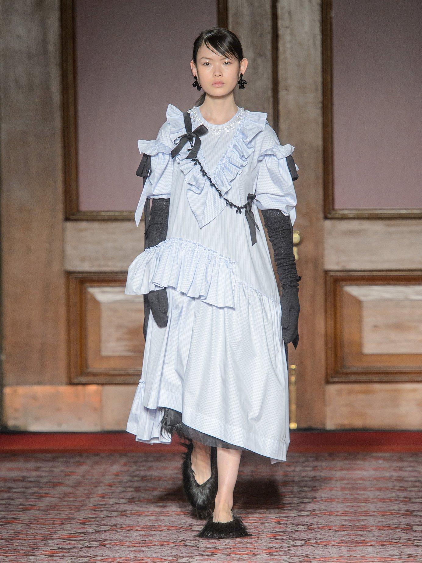 Asymmetric ruffled cotton-poplin dress by Simone Rocha