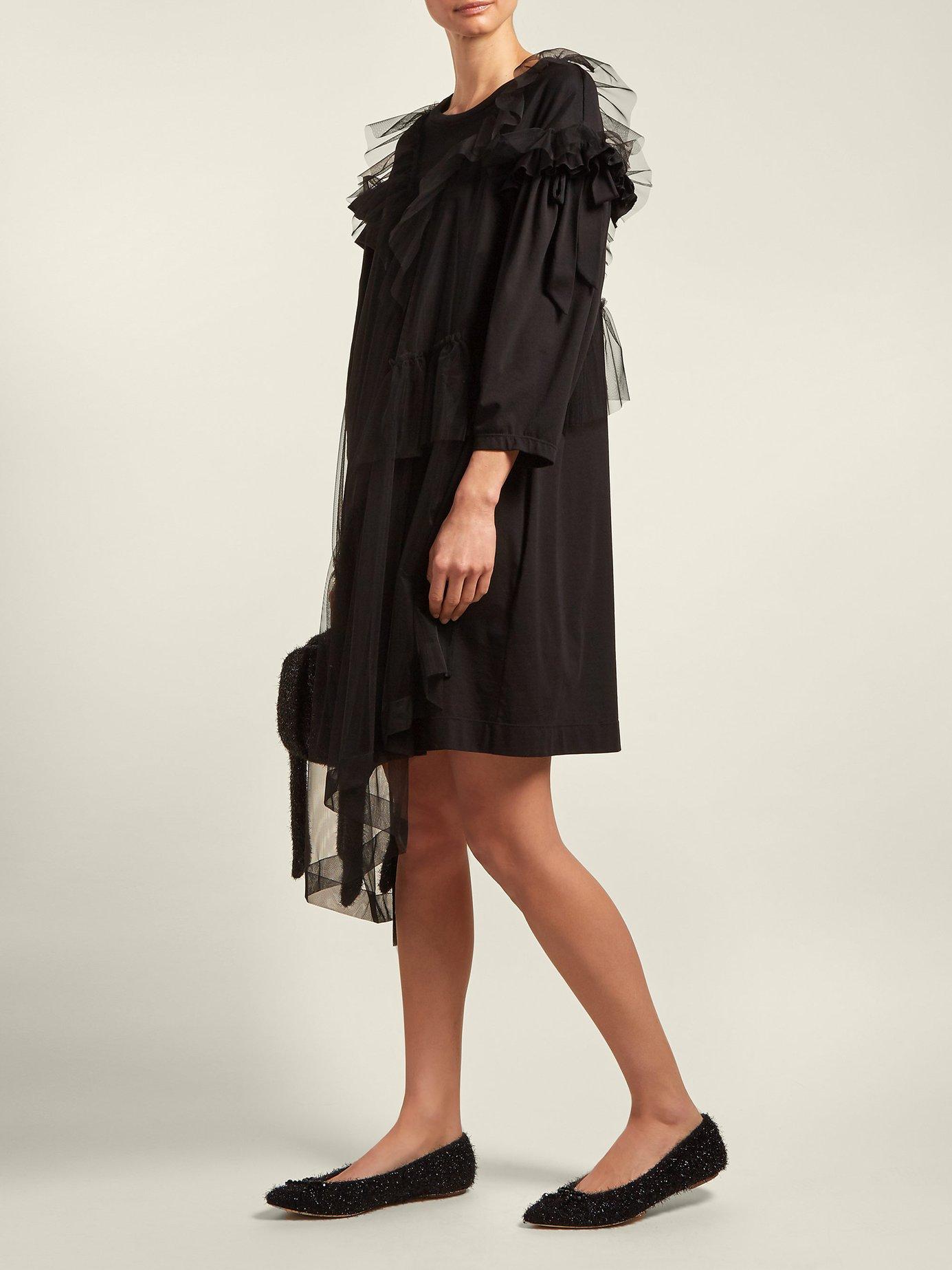 Ruffled tulle-overlay cotton T-shirt dress by Simone Rocha