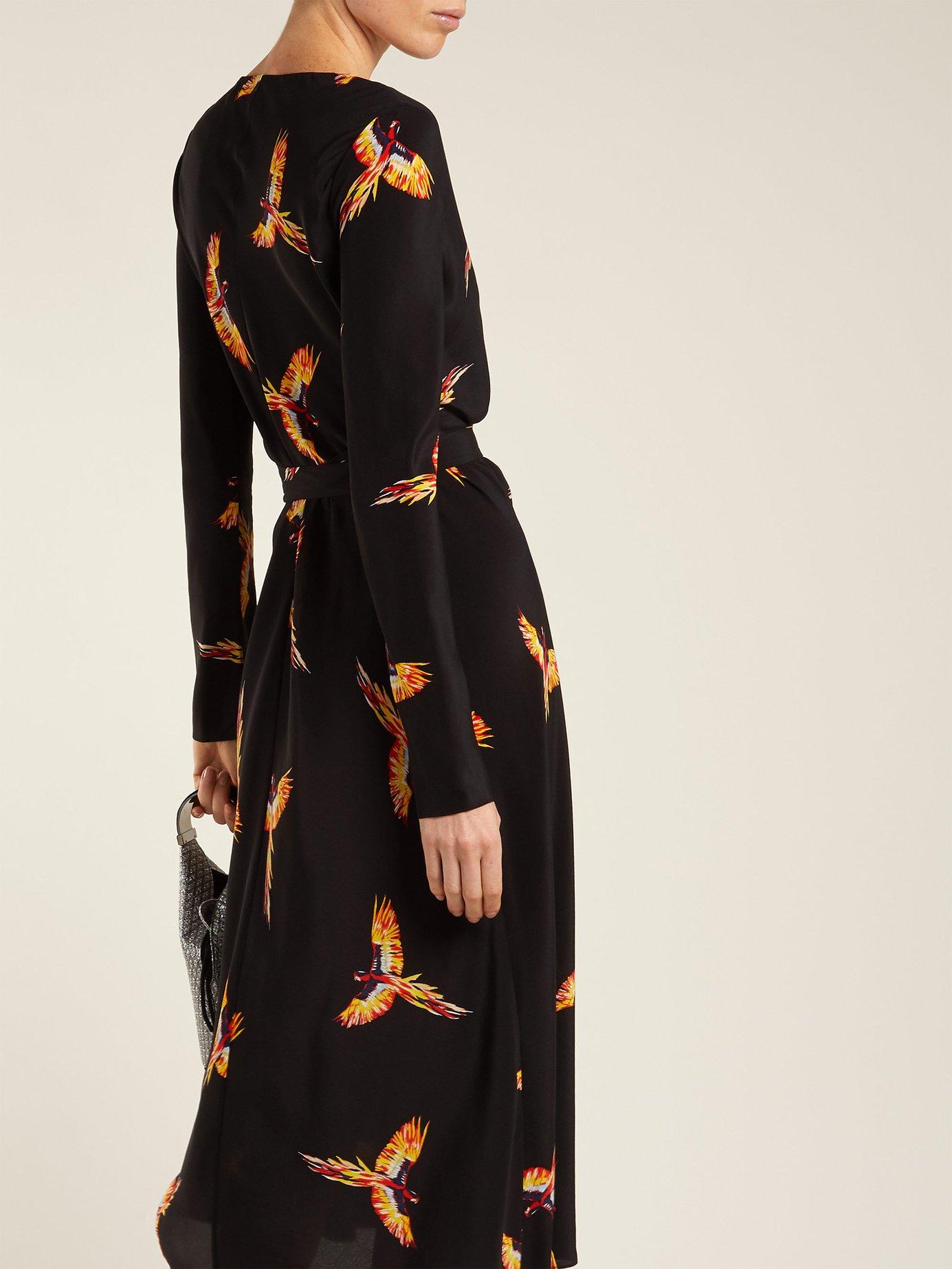 Tilly parrot-print silk crepe de Chine wrap dress by Diane Von Furstenberg