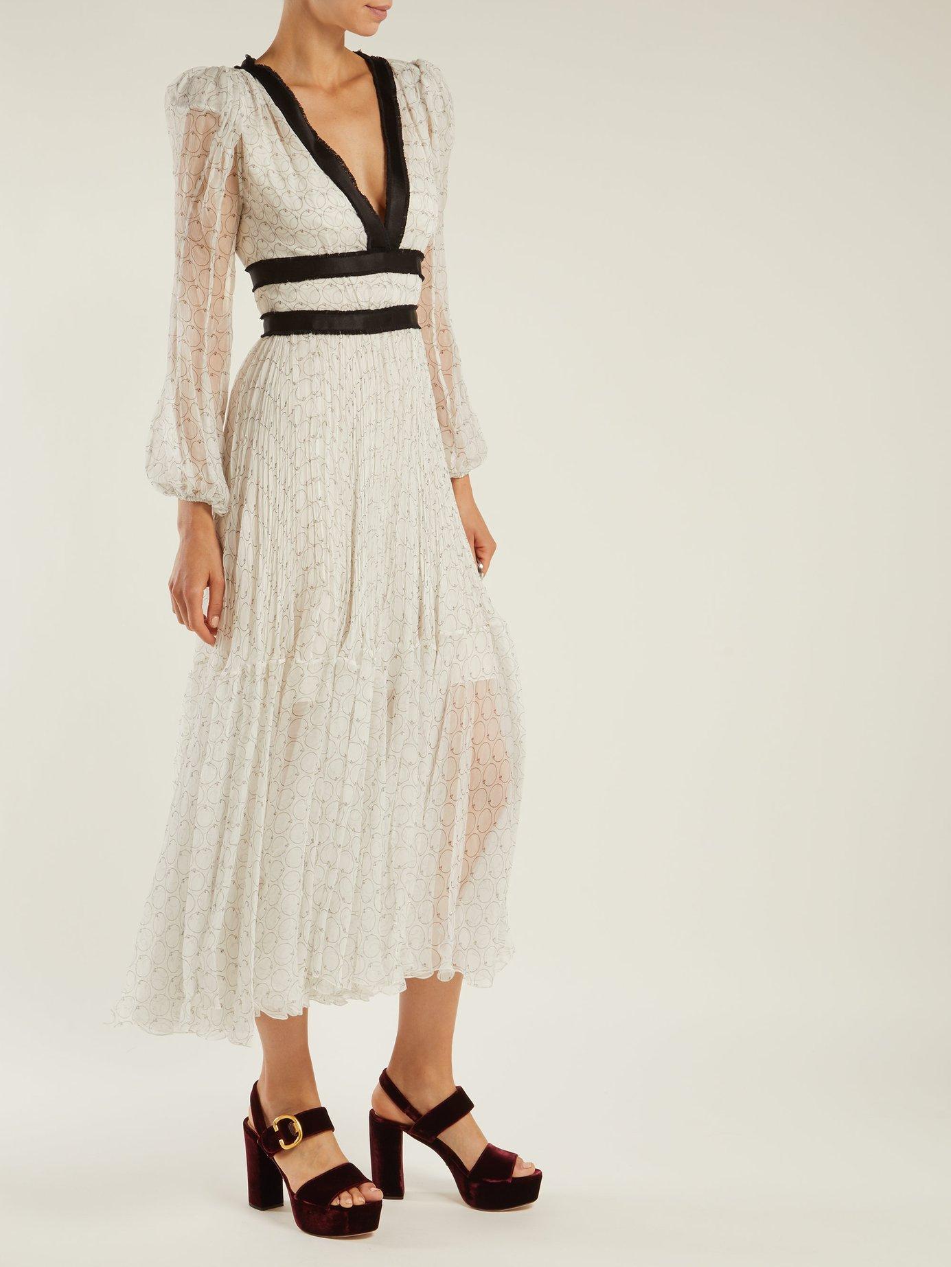 Opal geometric-print silk midi dress by Maria Lucia Hohan