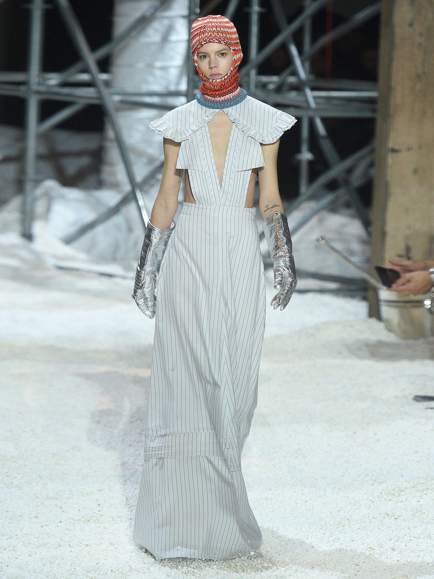 Ruffled striped silk-blend gown by Calvin Klein 205W39Nyc