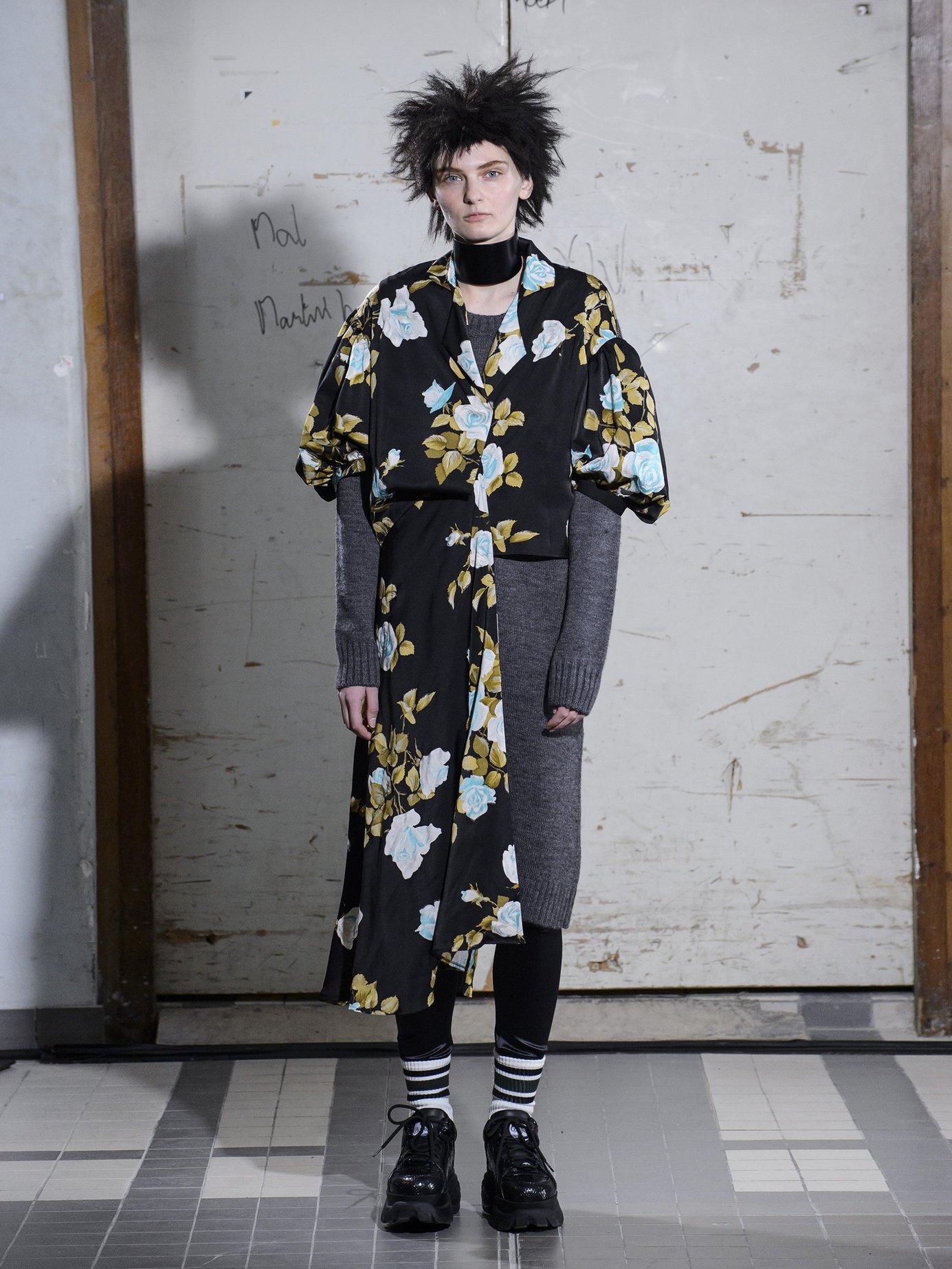 Floral-print satin and wool dress by Junya Watanabe