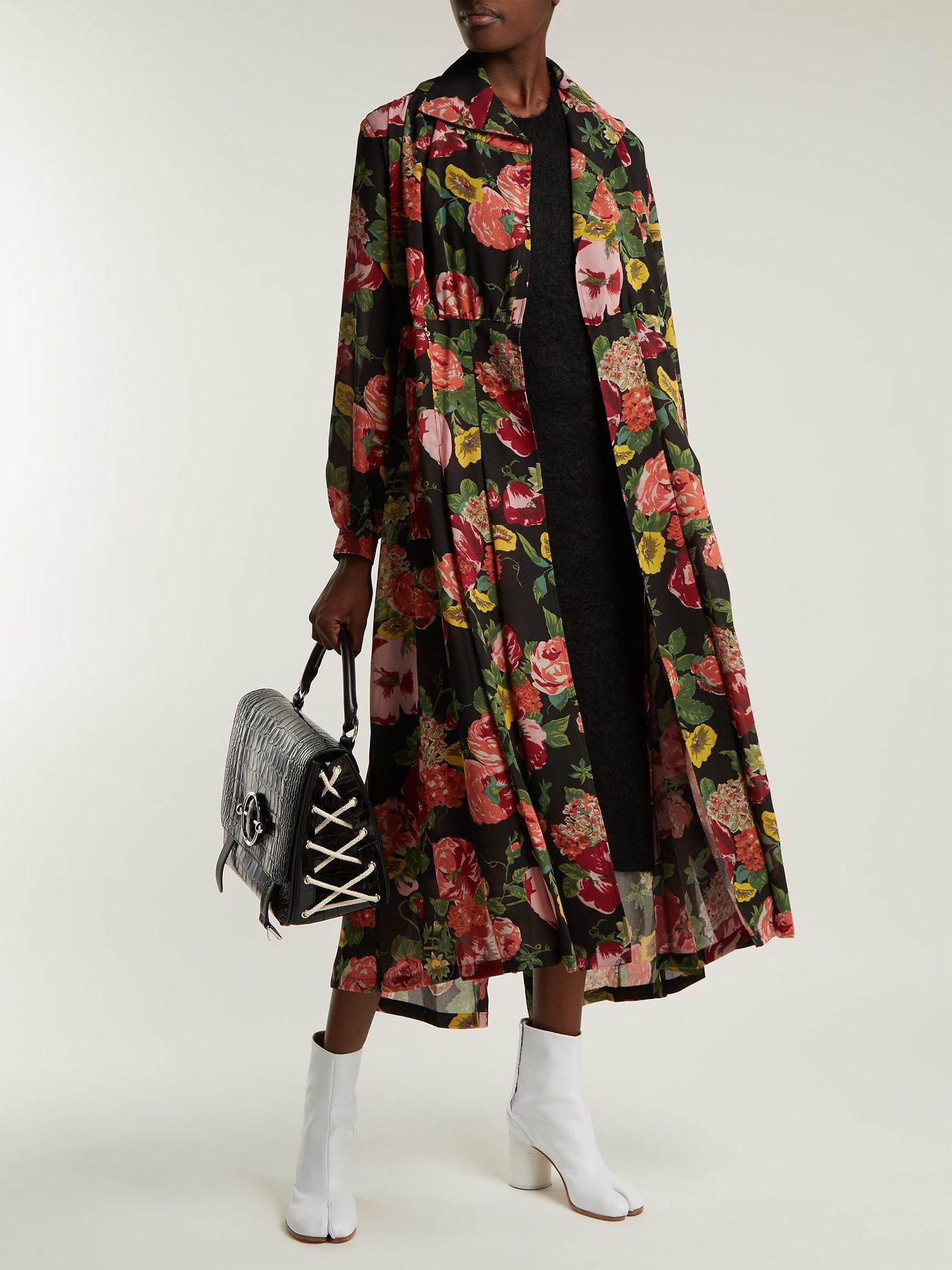 Wool-knit floral-print georgette dress by Junya Watanabe