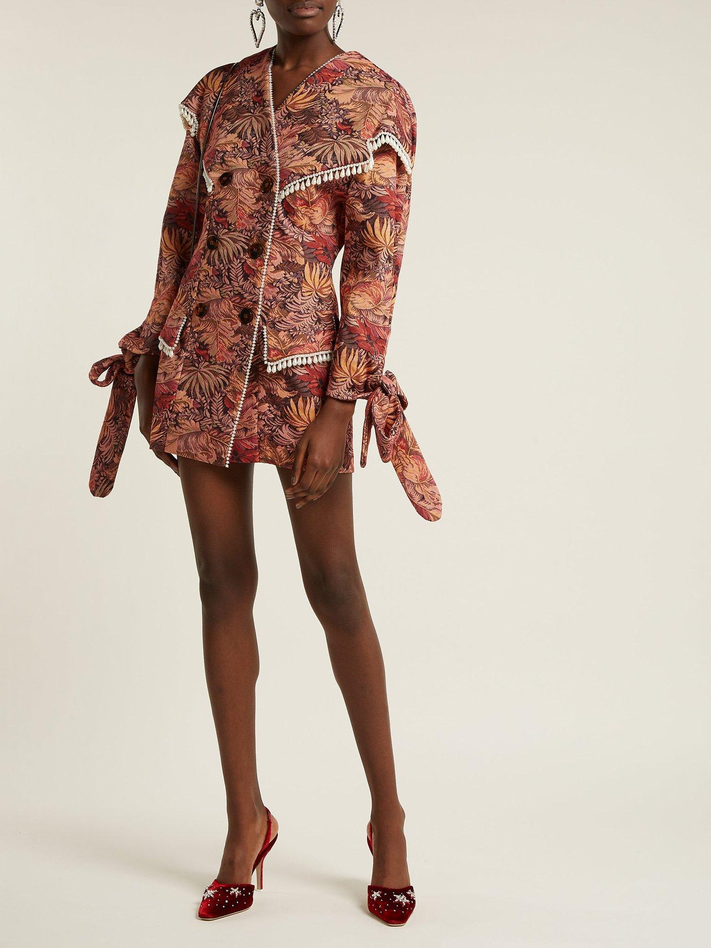 Floral tapestry brocade mini dress by Attico