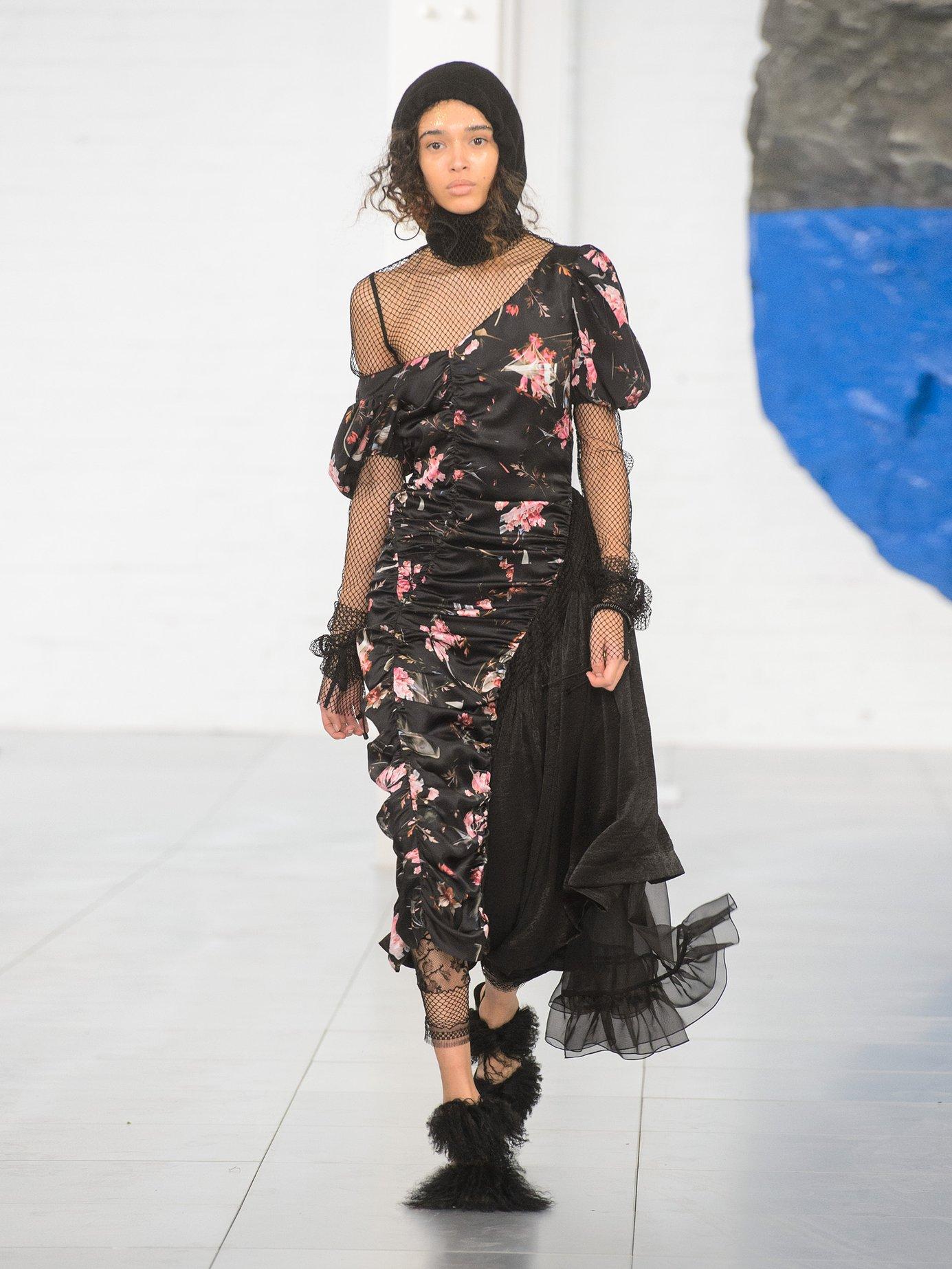 Kim foxglove-print silk-satin dress by Preen By Thornton Bregazzi