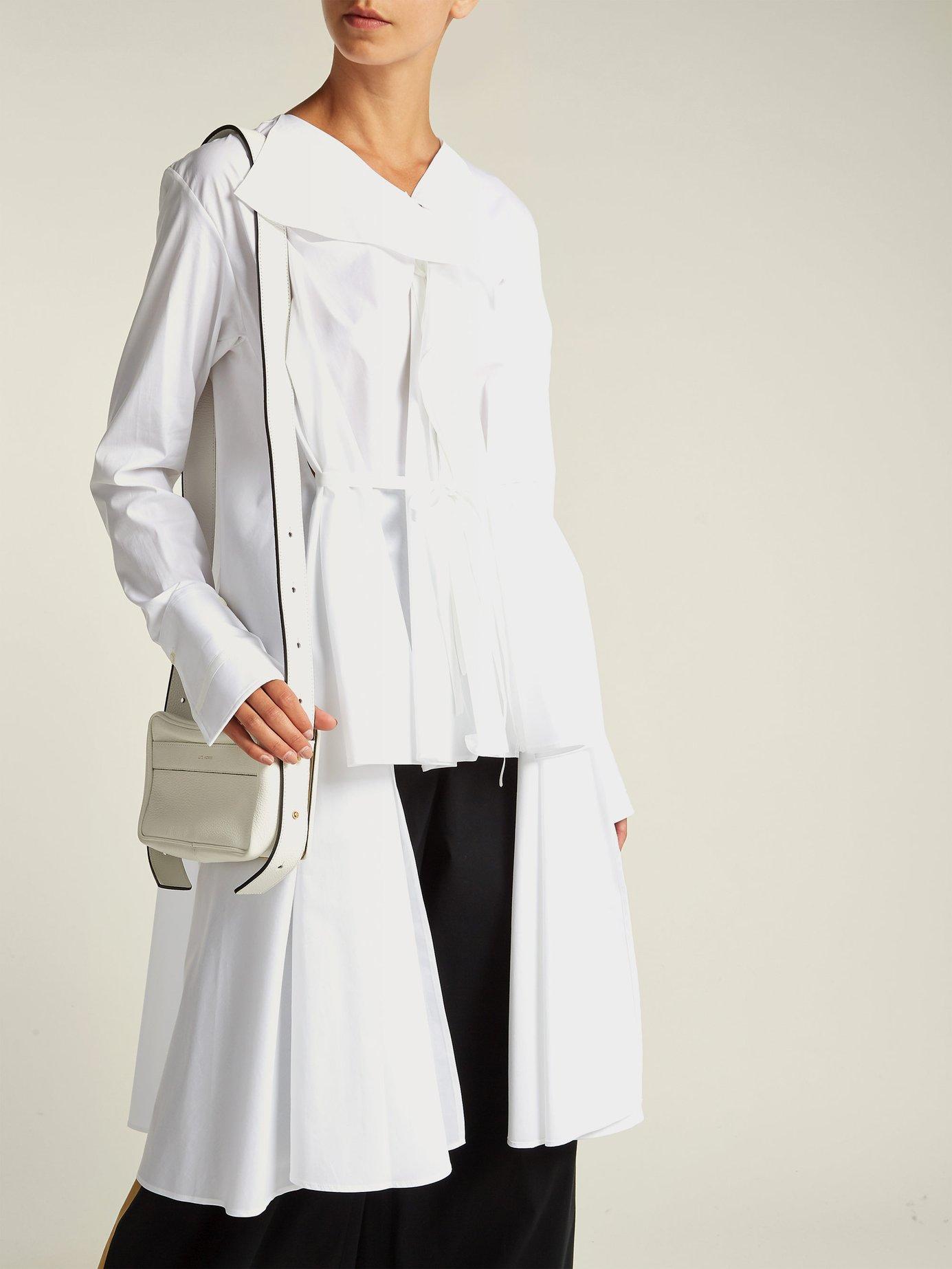Ruffled V-neck cotton shirt by Palmer/Harding