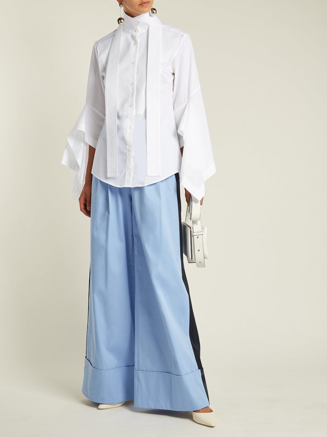 Draped sleeves cotton-poplin shirt by Palmer/Harding