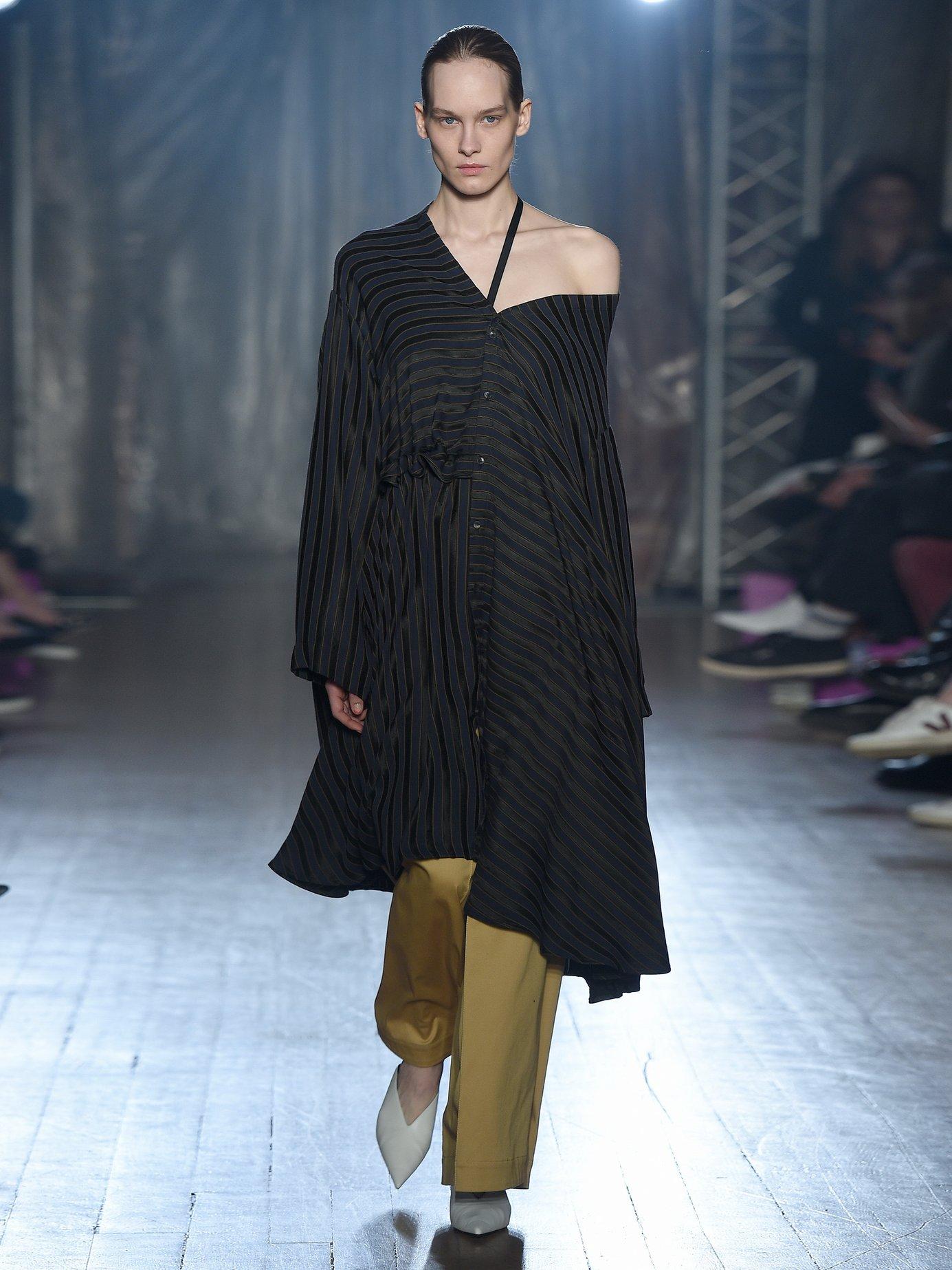 Jasmine asymmetric striped jacquard shirt dress by Palmer/Harding