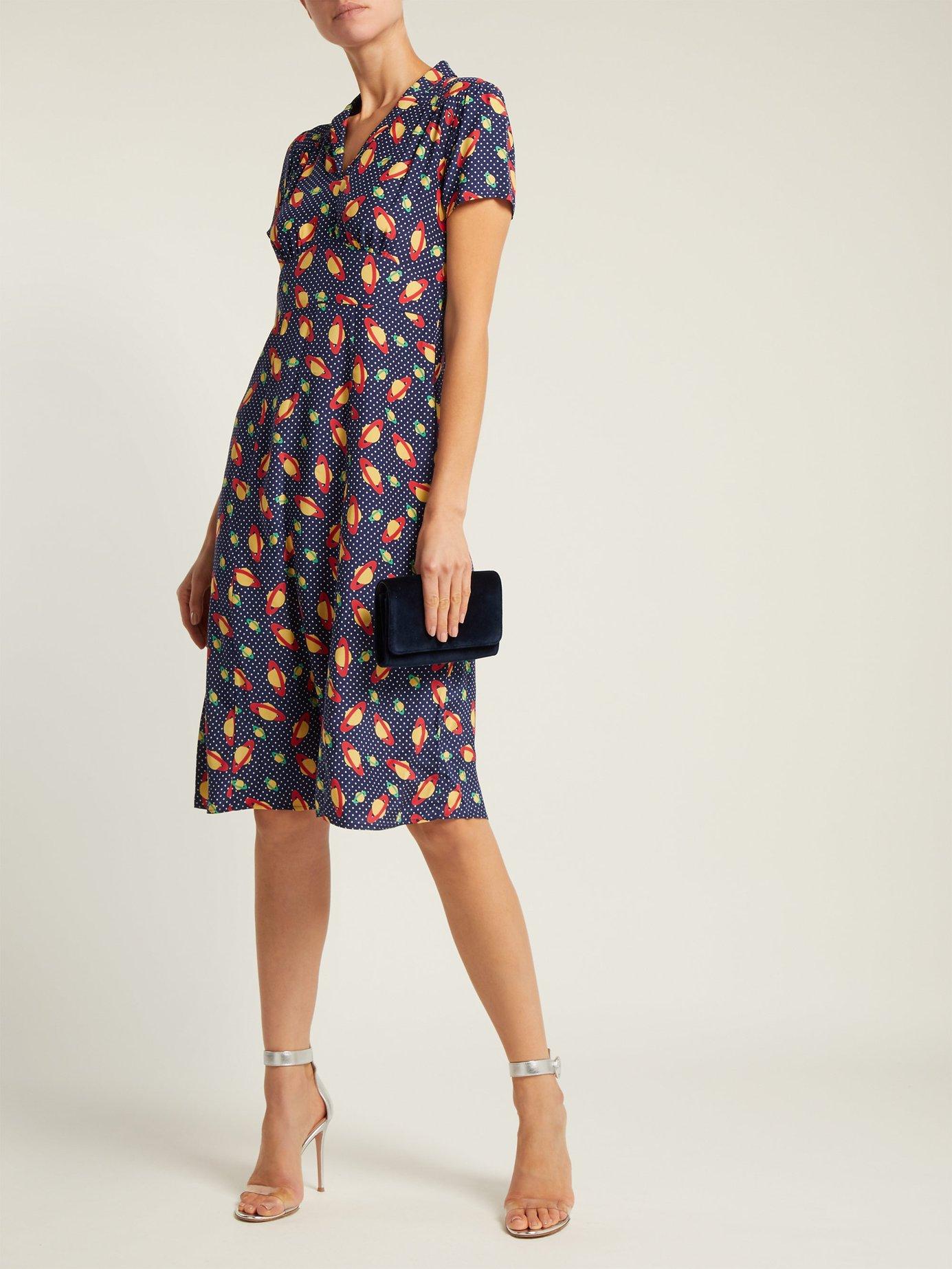Morgan planet-print silk dress by Hvn