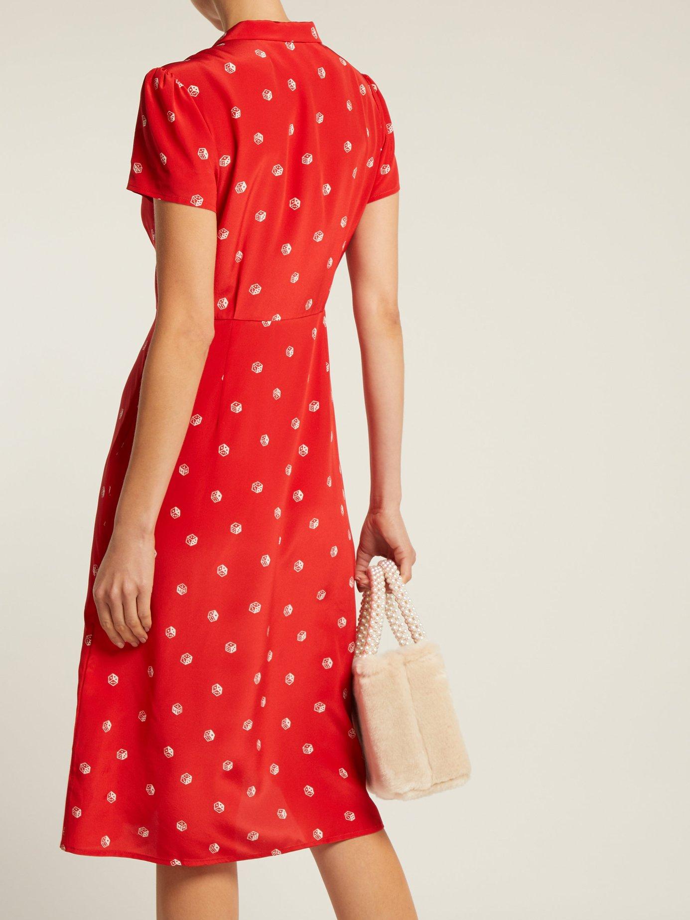 Morgan dice-print silk midi dress by Hvn