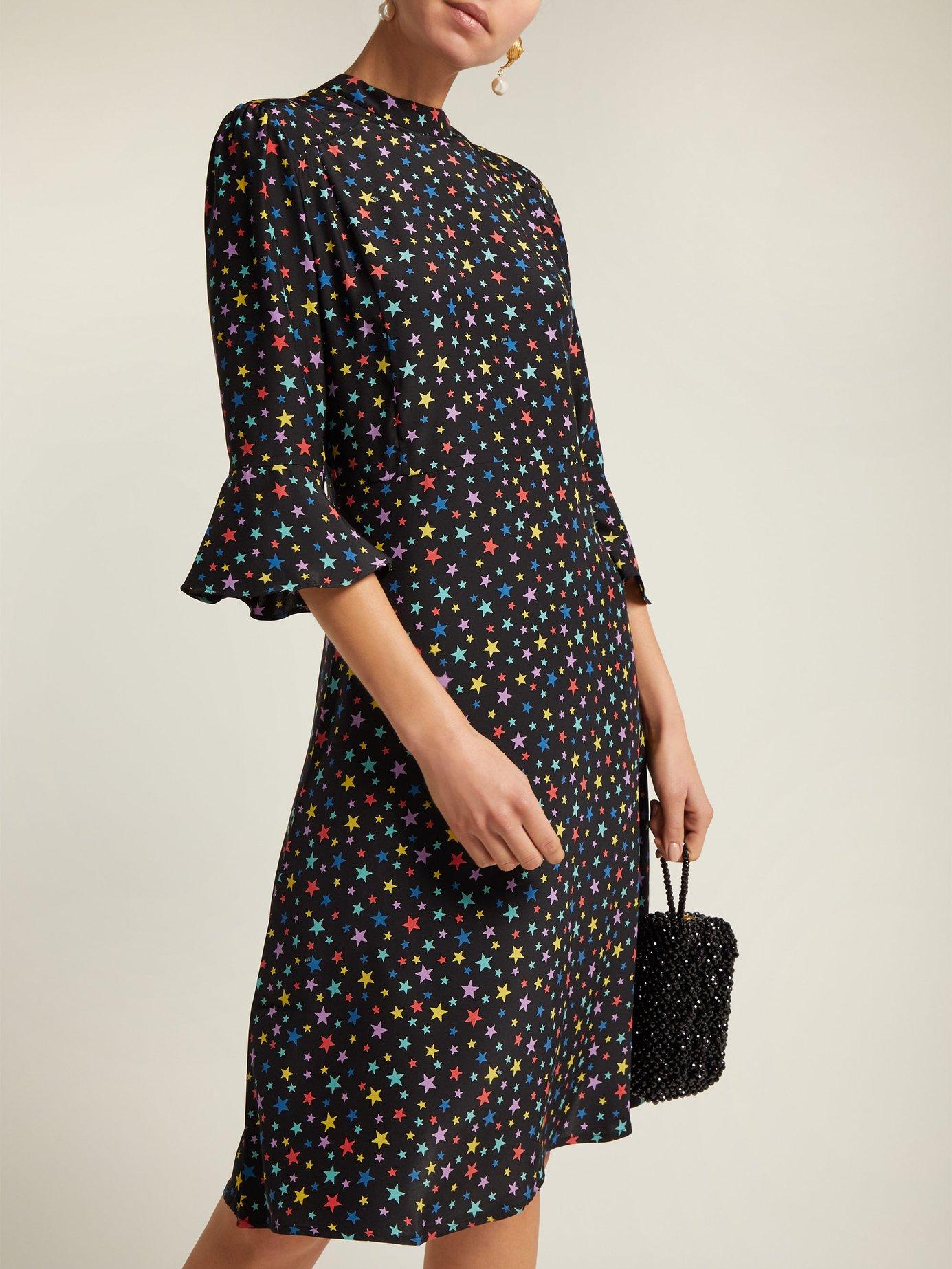 Ashley rainbow star-print silk dress by Hvn