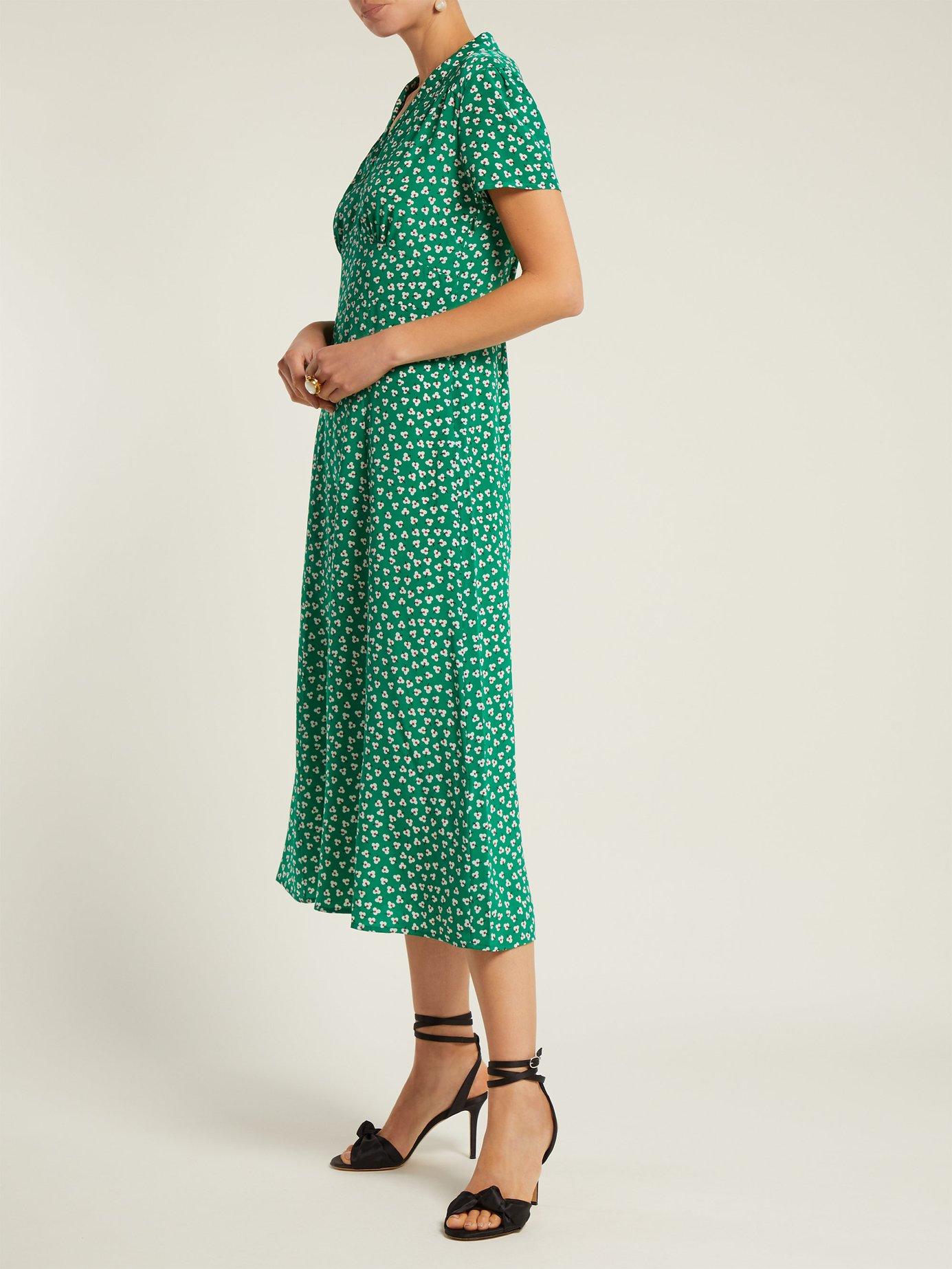 Morgan flower-print silk dress by Hvn
