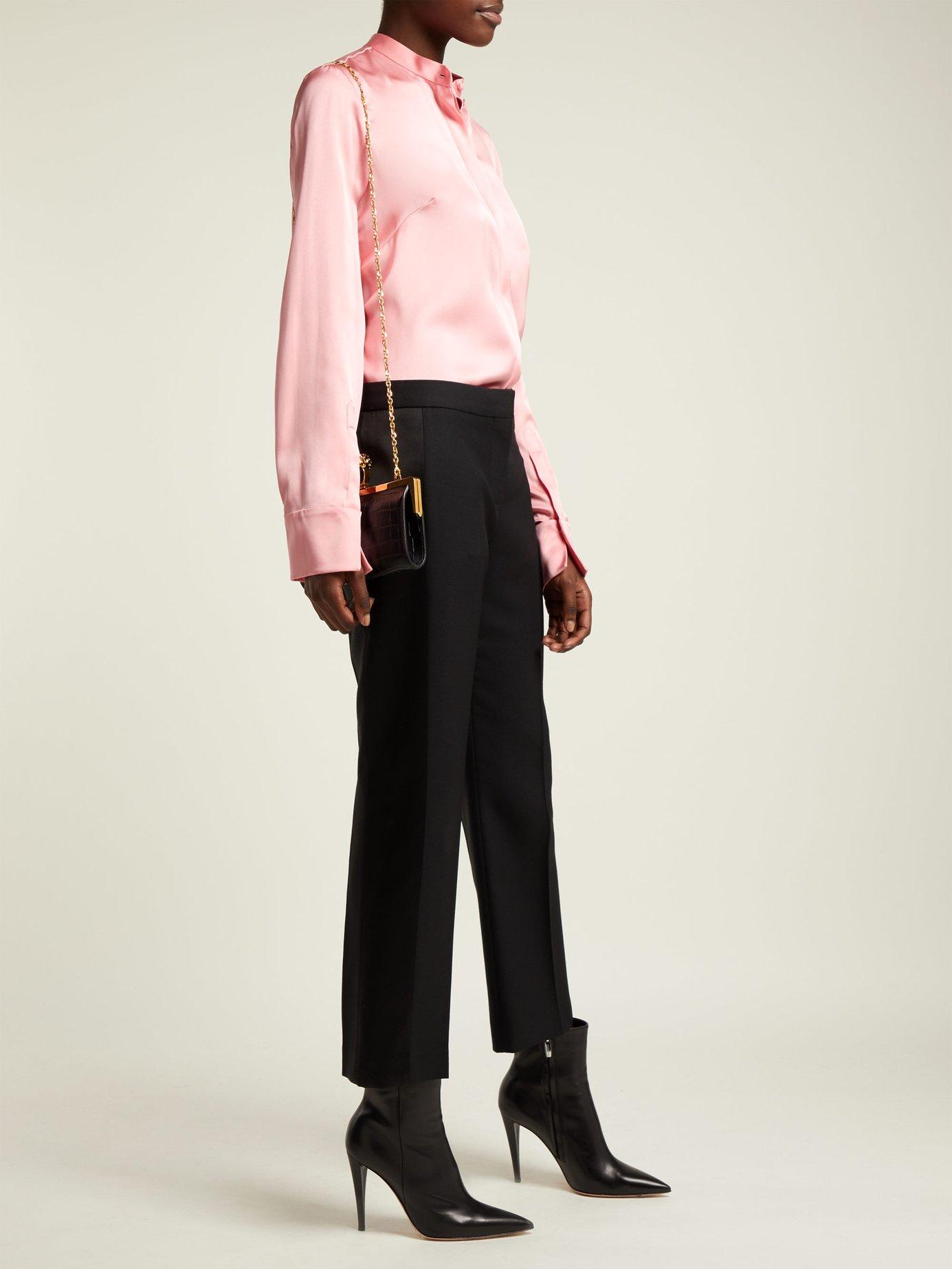 Silk-satin long-sleeve blouse by Alexander Mcqueen