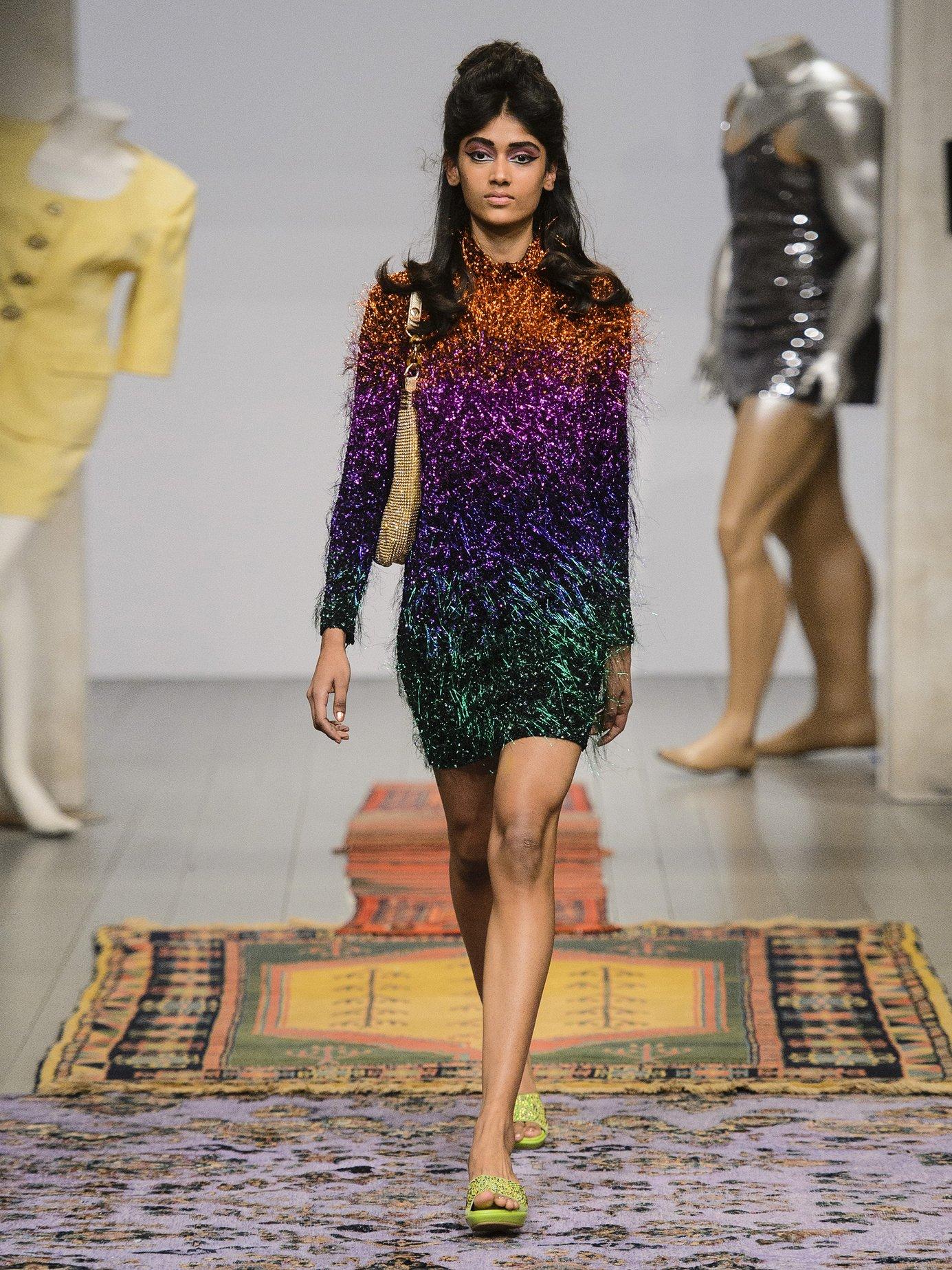 Tinsel sequin-embellished silk-georgette dress by Ashish