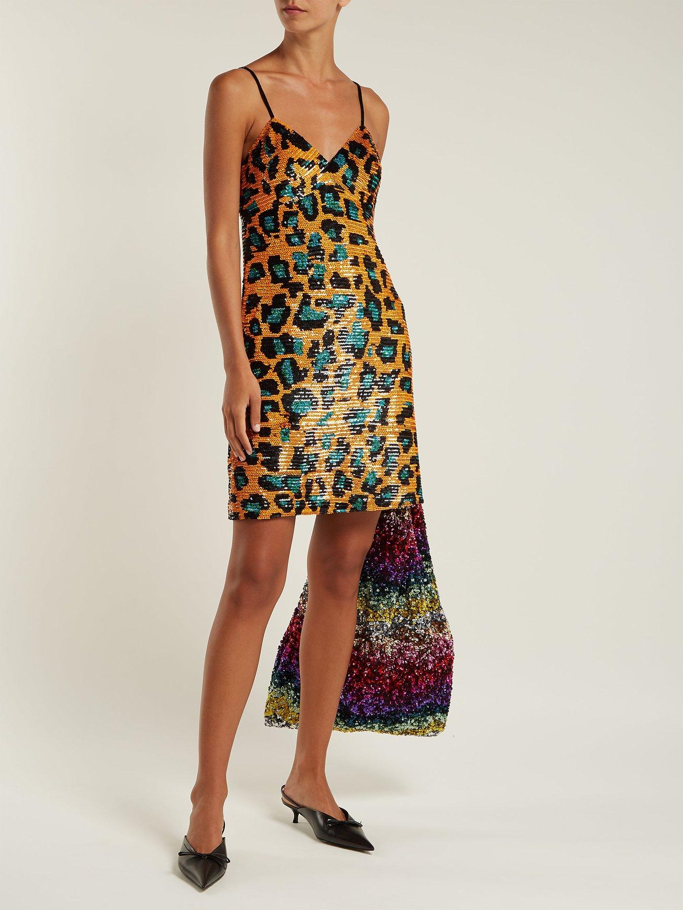 Leopard sequin-embellished georgette mini dress by Ashish