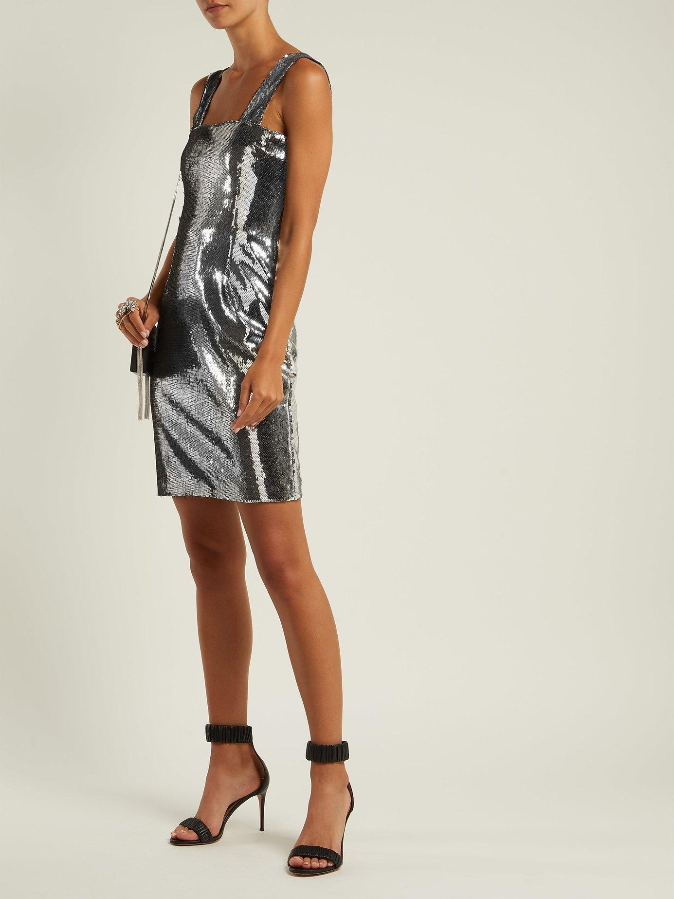 Sequined square-neckline dress by Galvan