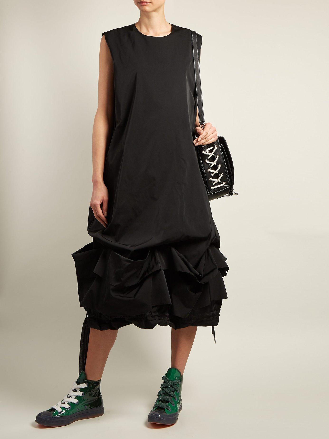 Gathered drawstring-hem taffeta dress by Jw Anderson