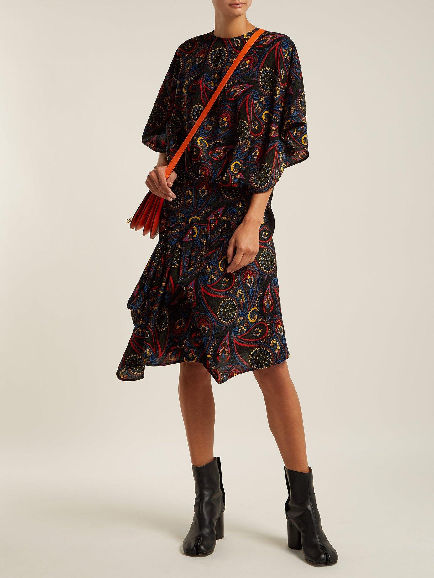 Paisley-print handkerchief-hem silk dress by Jw Anderson