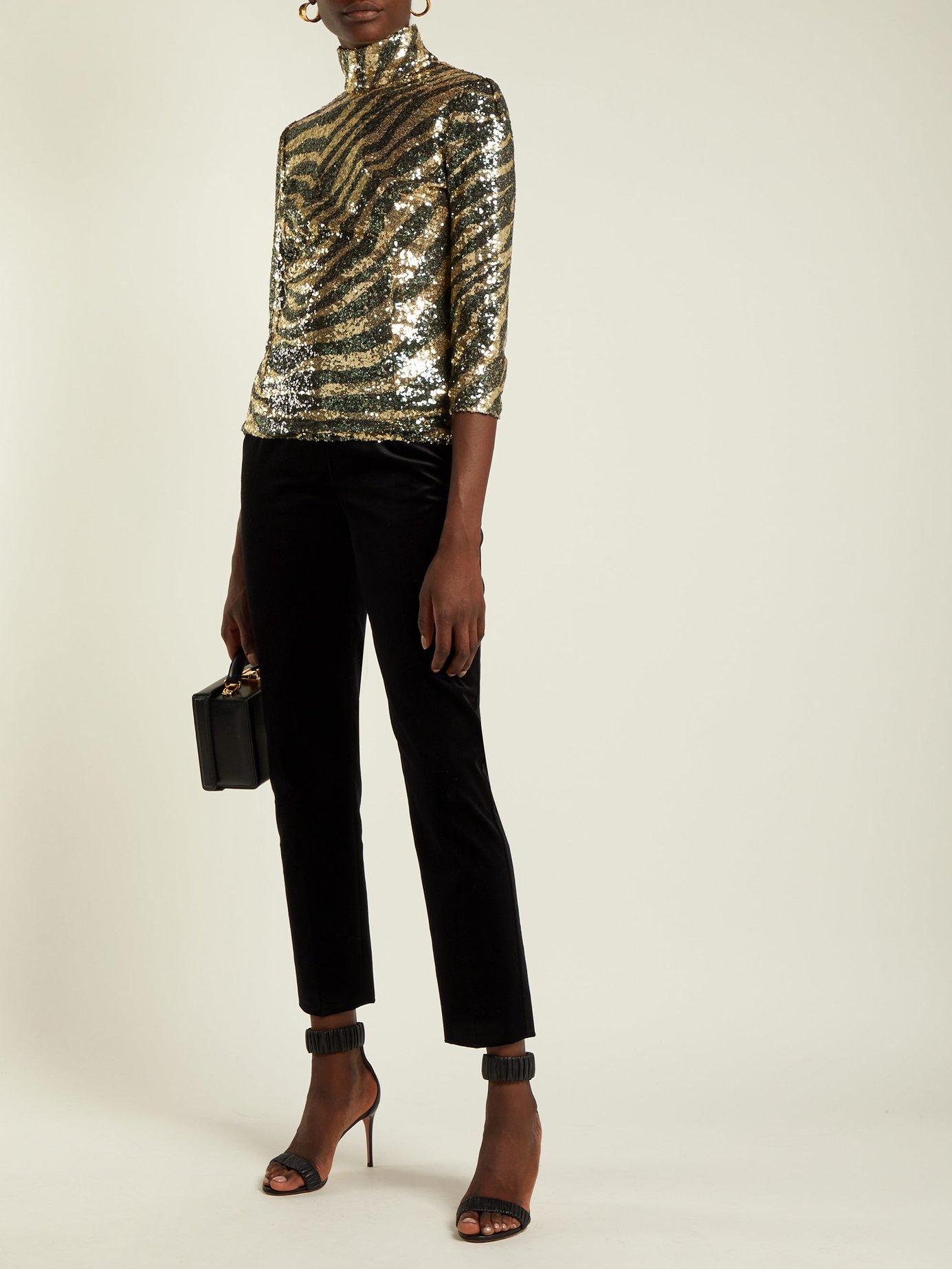 Sequin zebra-pattern high-neck top by Dolce & Gabbana