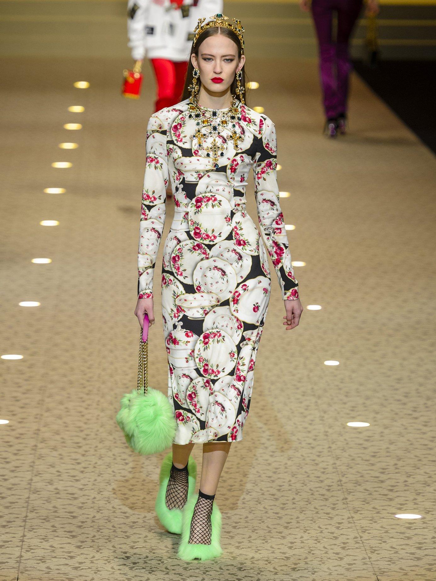 Plate-print stretch-crepe midi dress by Dolce & Gabbana