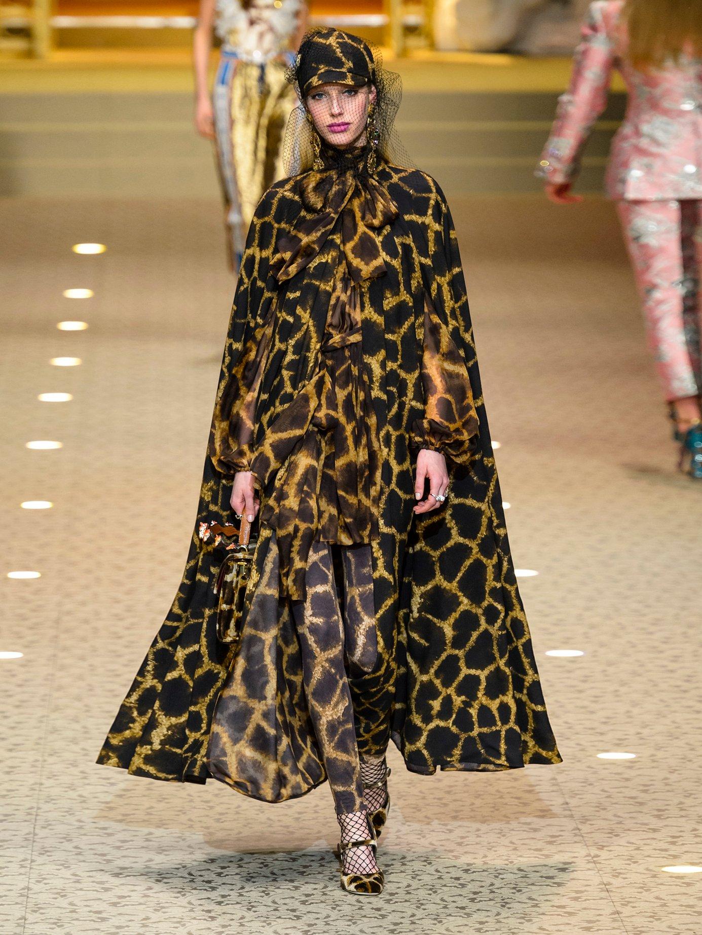 Giraffe-print tie-neck dress by Dolce & Gabbana