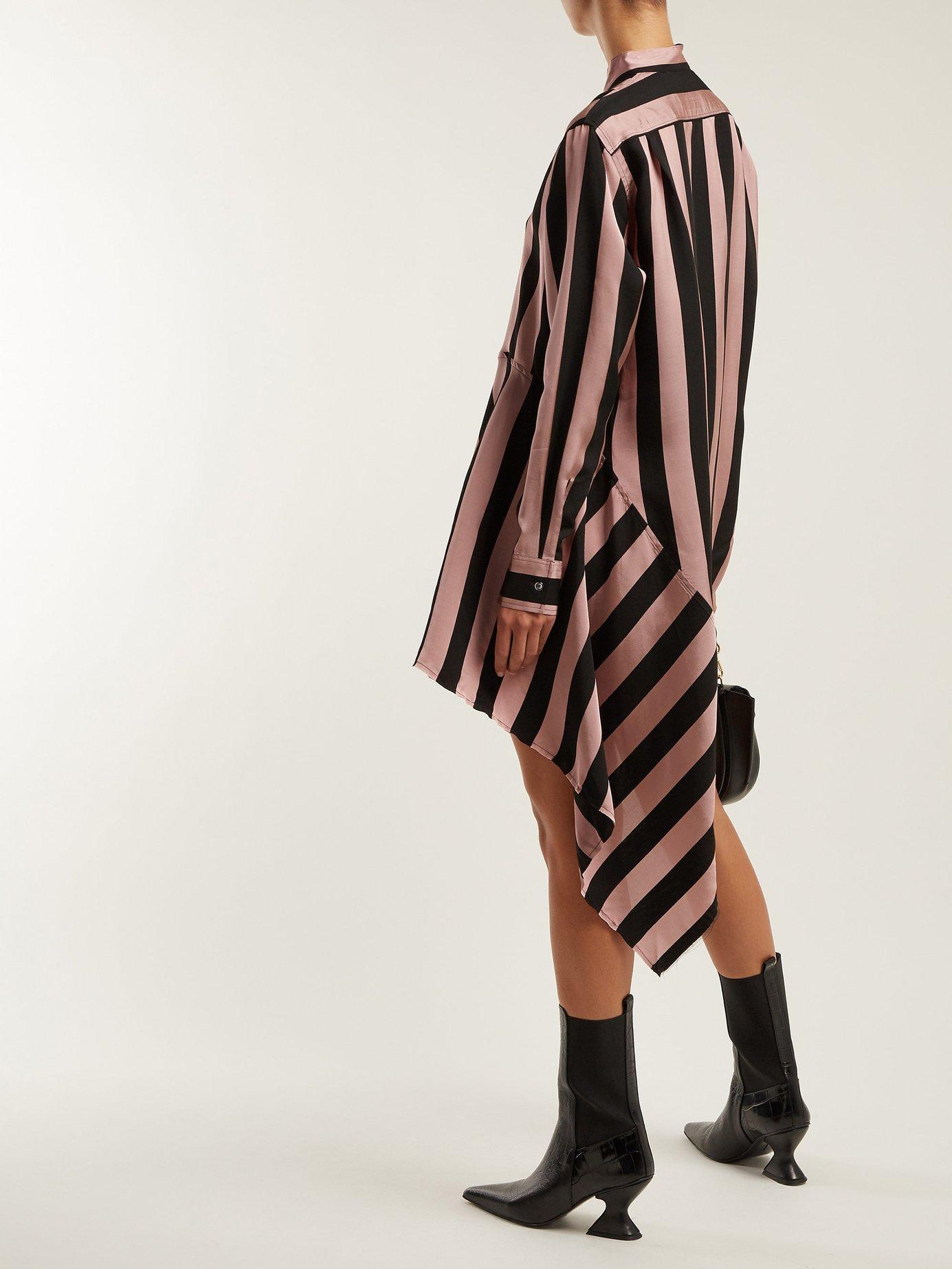 Striped asymmetric satin shirtdress by Marques'Almeida