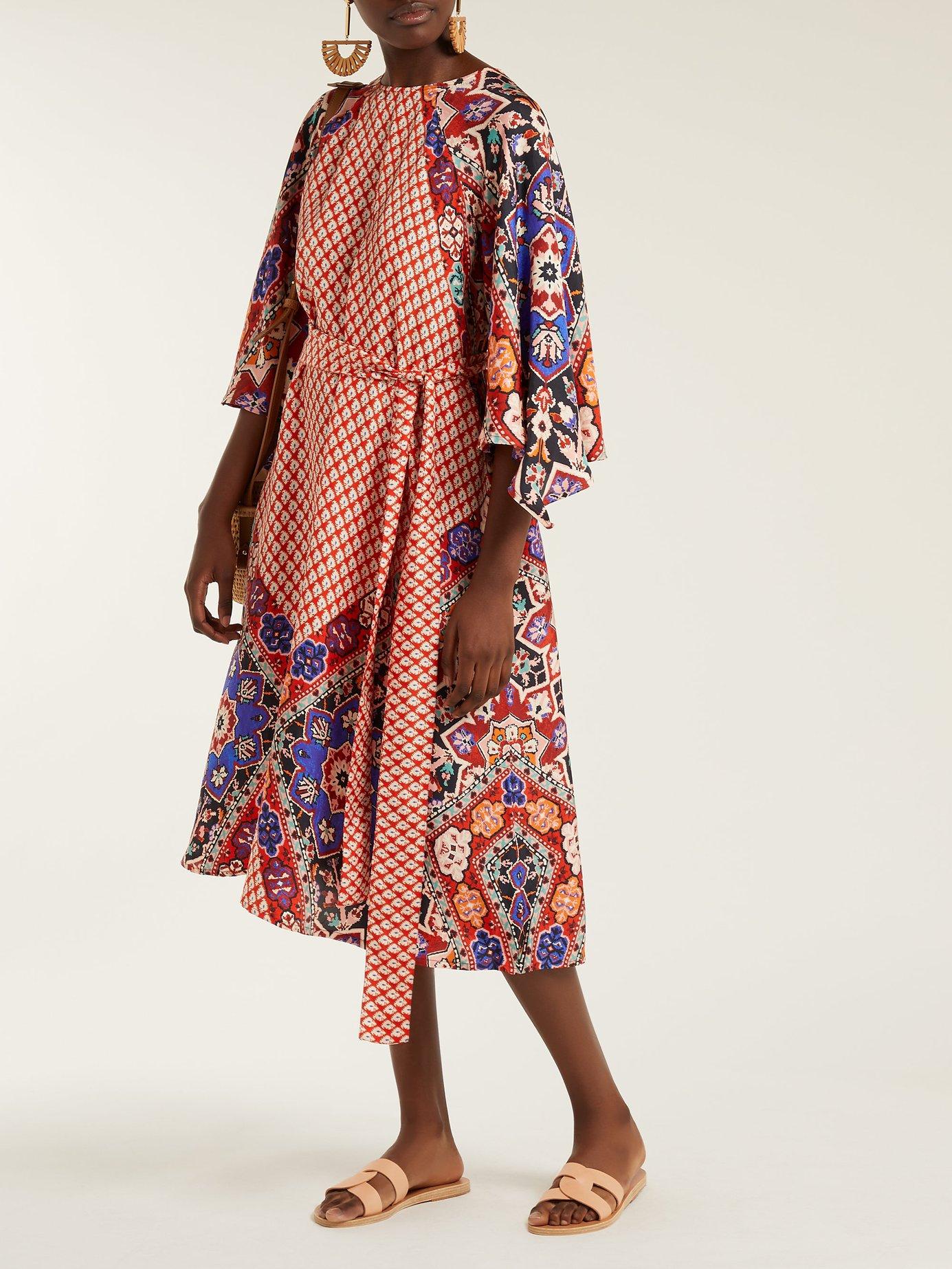 Alessandra tile-print silk dress by D'Ascoli