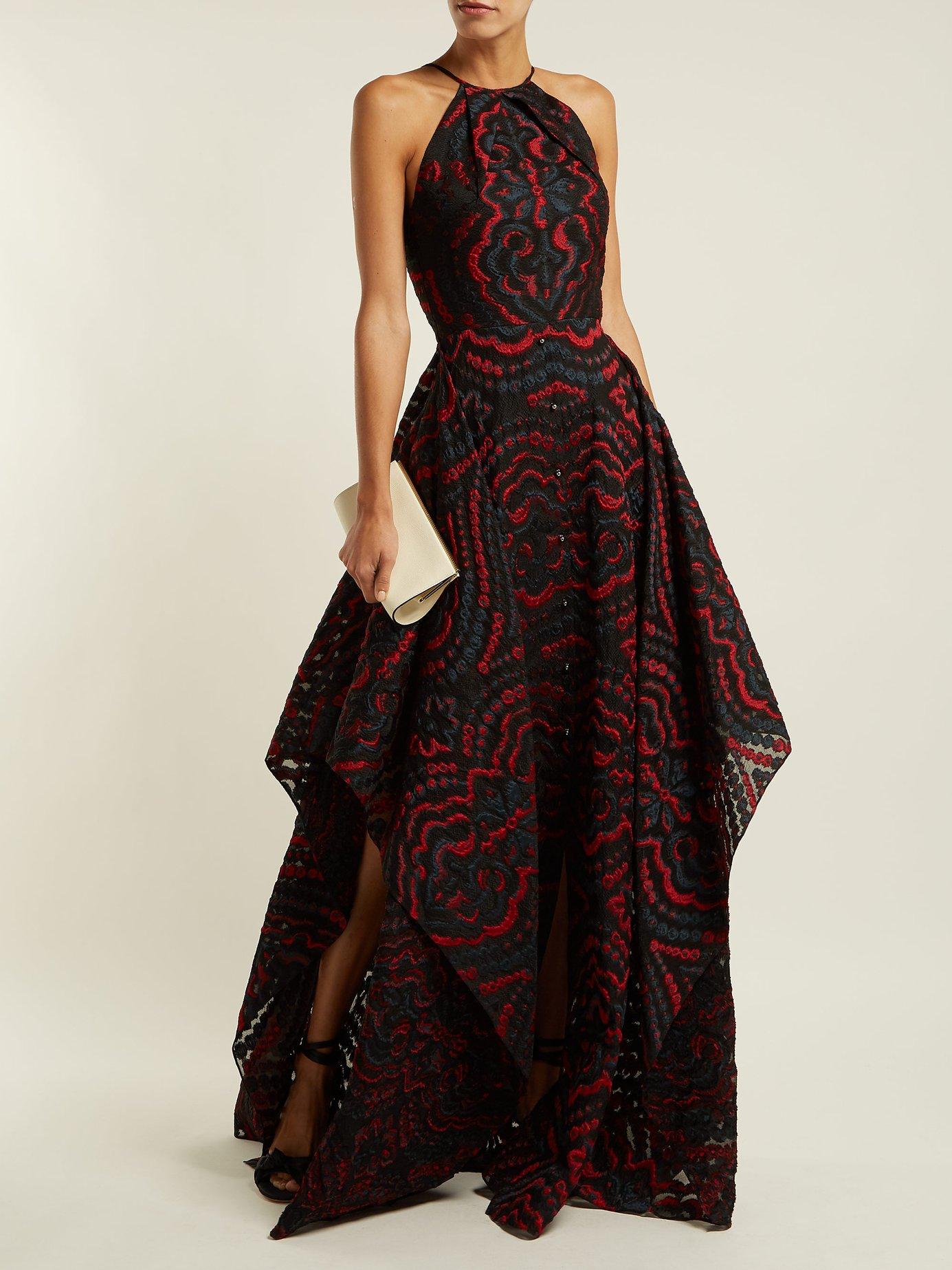 Evans halter-neck jacquard gown by Roland Mouret