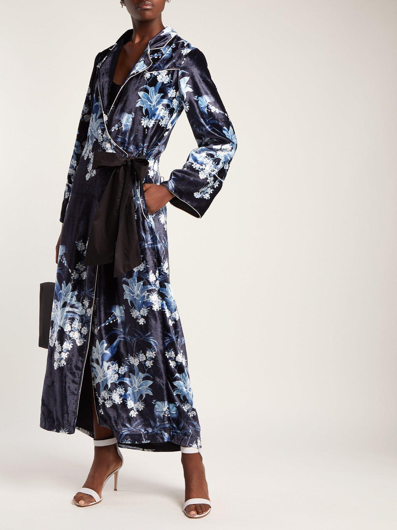 New Sunrise floral-print velvet gown by Johanna Ortiz
