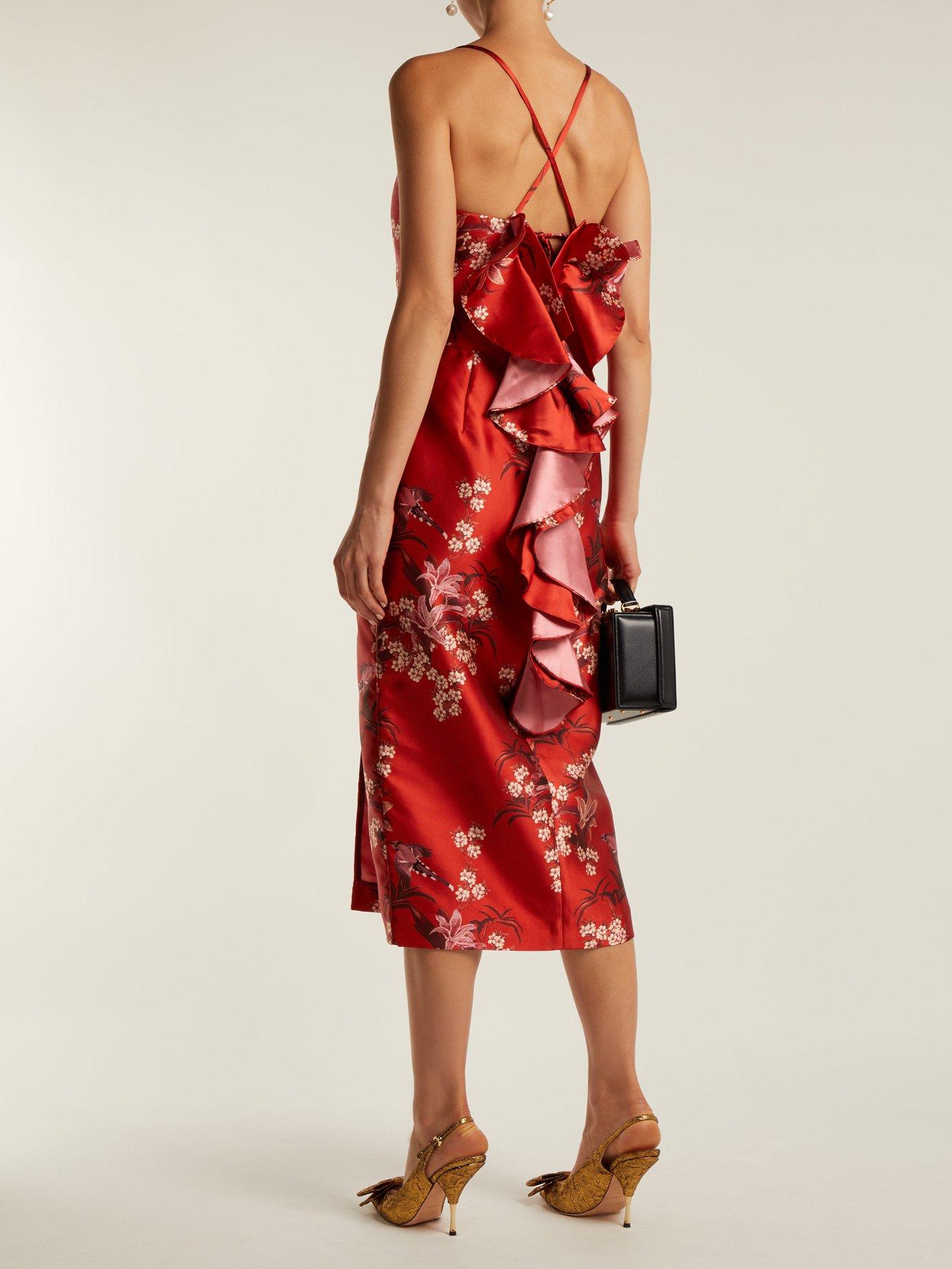 El Dia Que Me Quieras floral-print satin dress by Johanna Ortiz