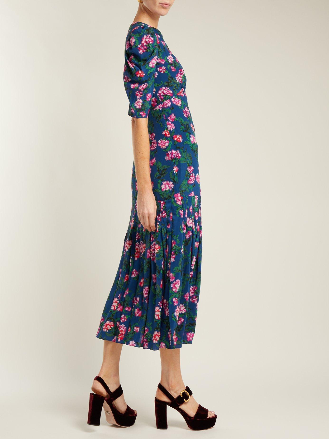 Colette Azalea-print silk crepe de Chine dress by Saloni