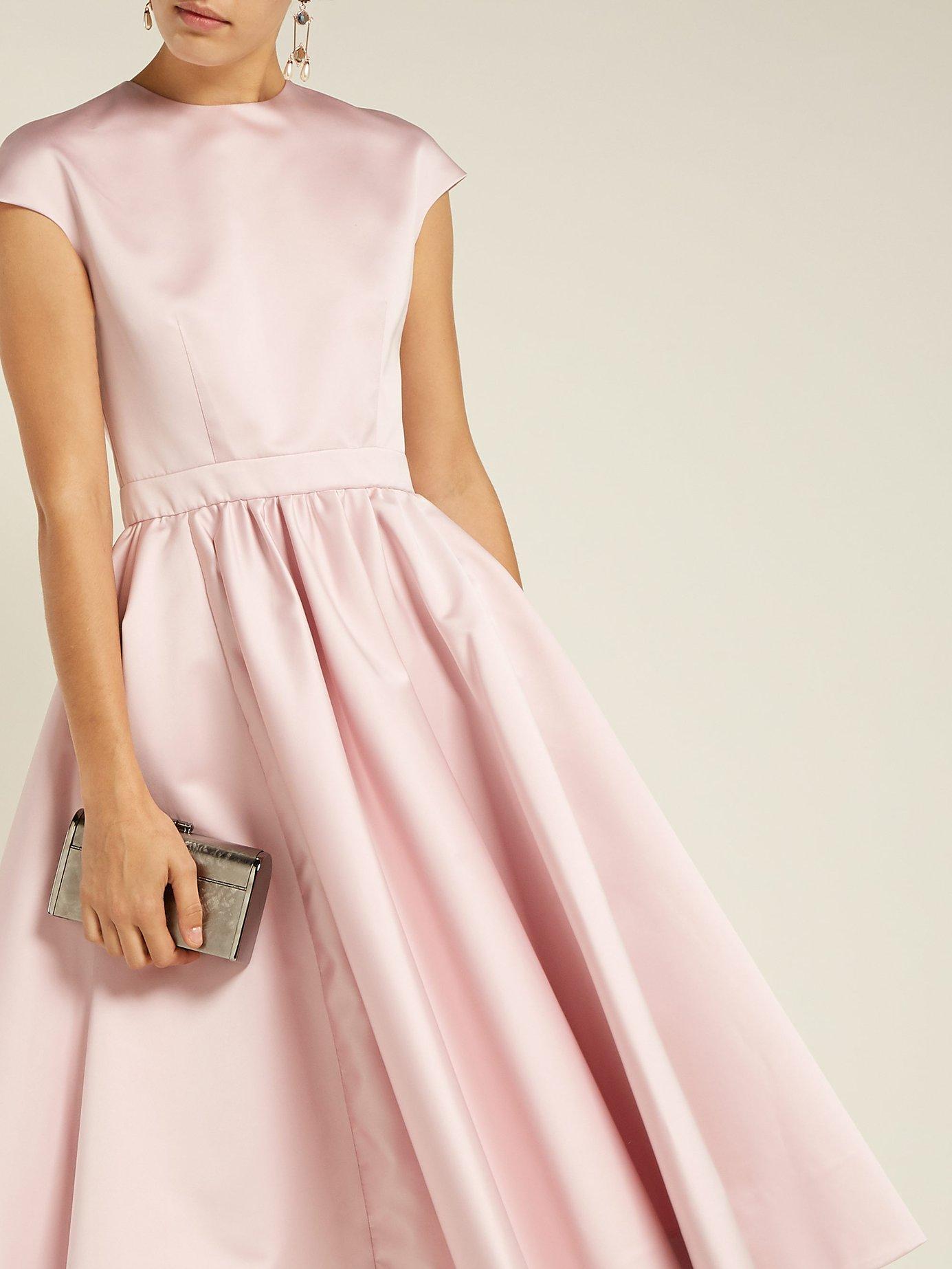 Gathered-waist satin dress by Rochas