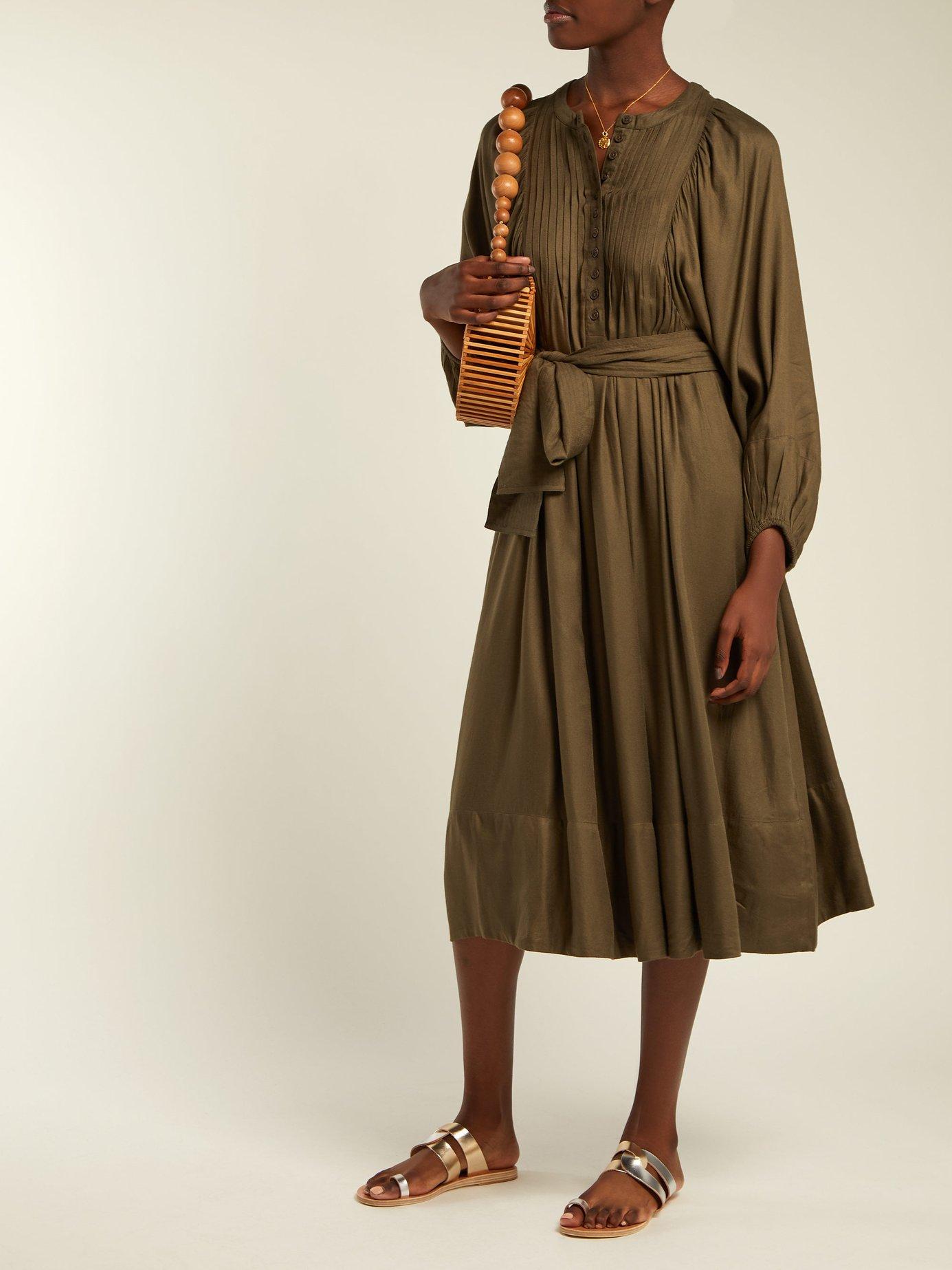 Femek pintucked twill midi dress by Apiece Apart