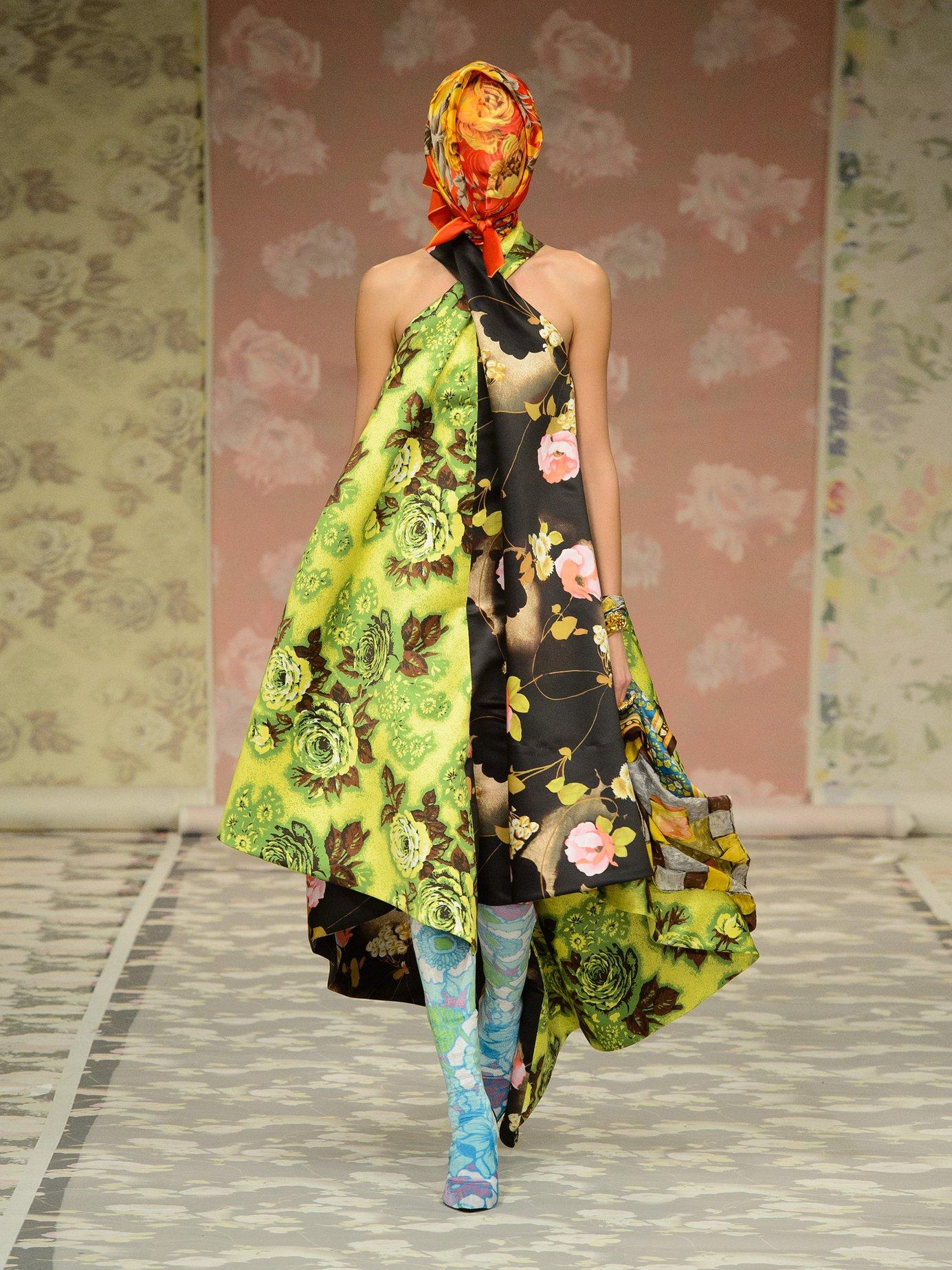 Panelled floral-print satin dress by Richard Quinn
