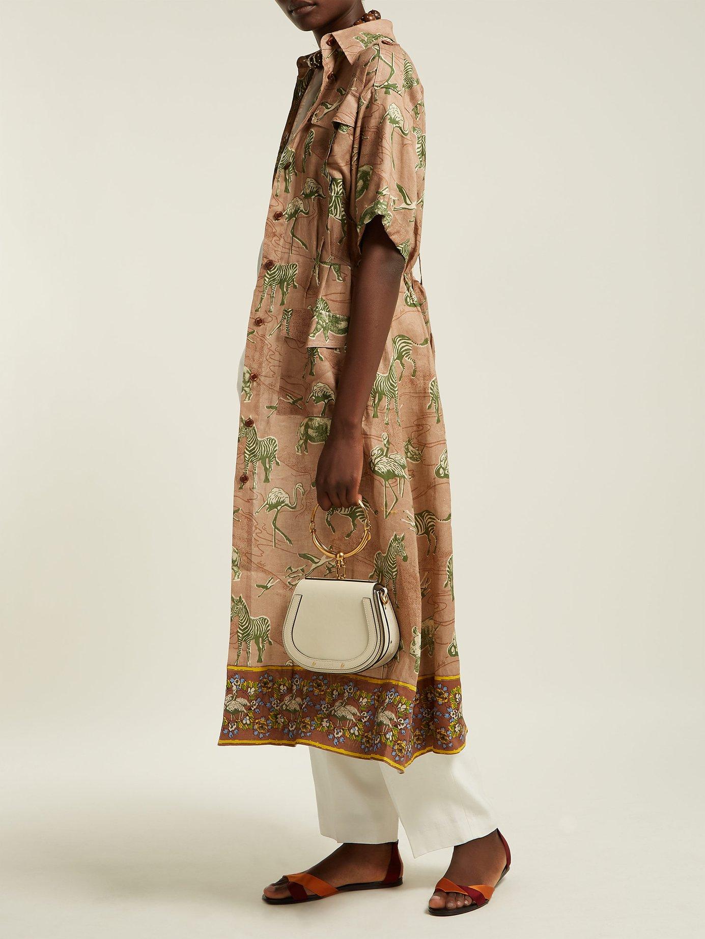 Kinyei safari-print linen shirt dress by Chufy