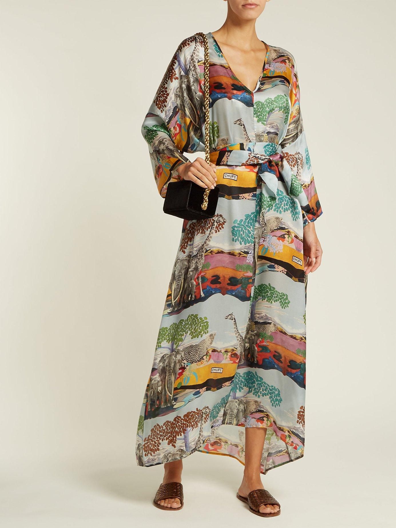 Savannah safari-print silk kaftan by Chufy