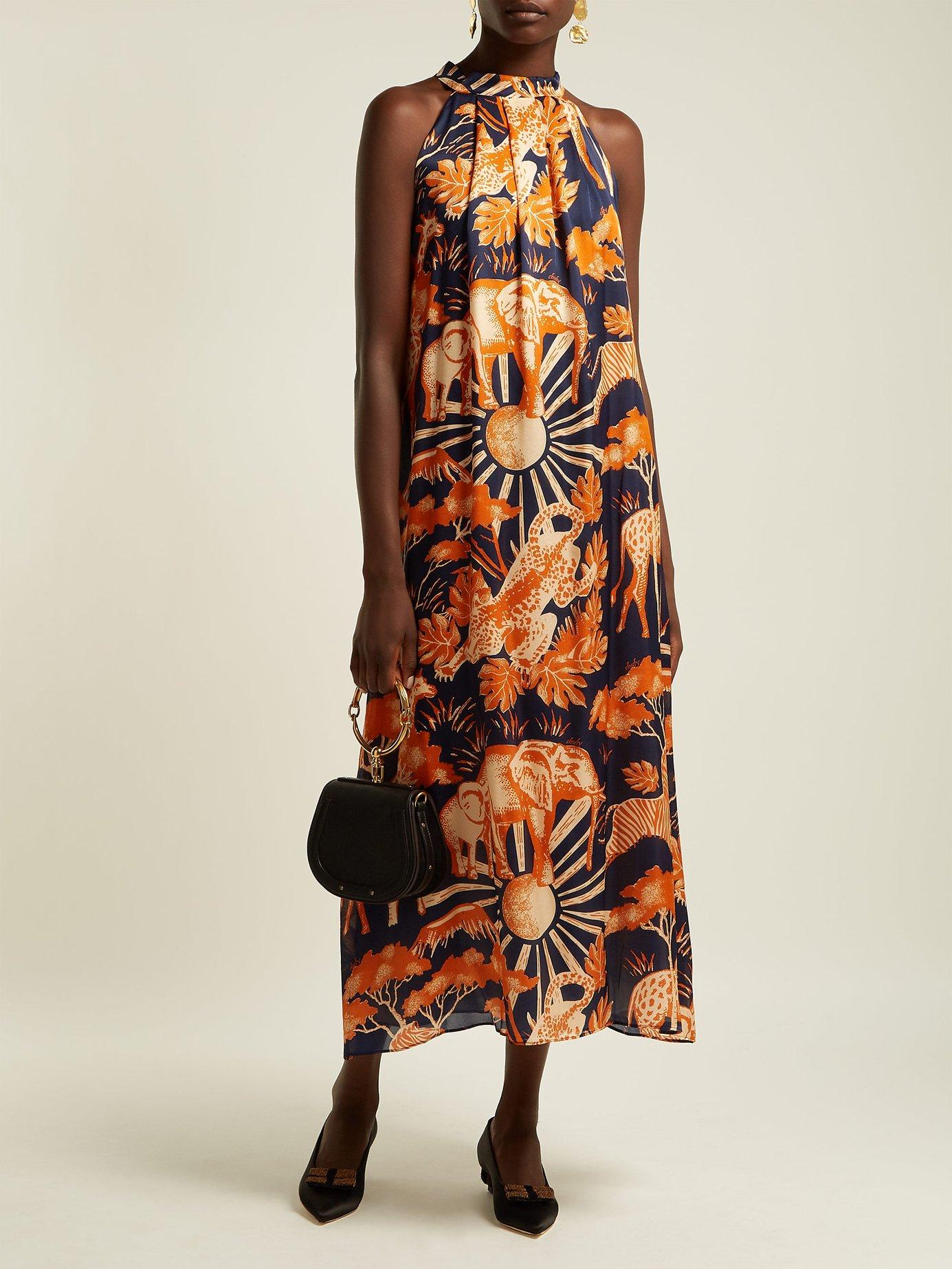 Femi halter-neck silk-satin dress by Chufy