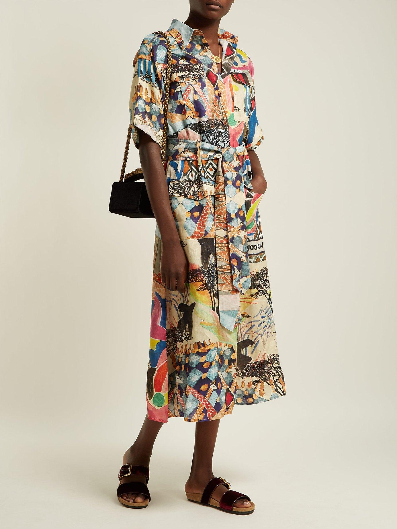 Safari-print linen dress by Chufy