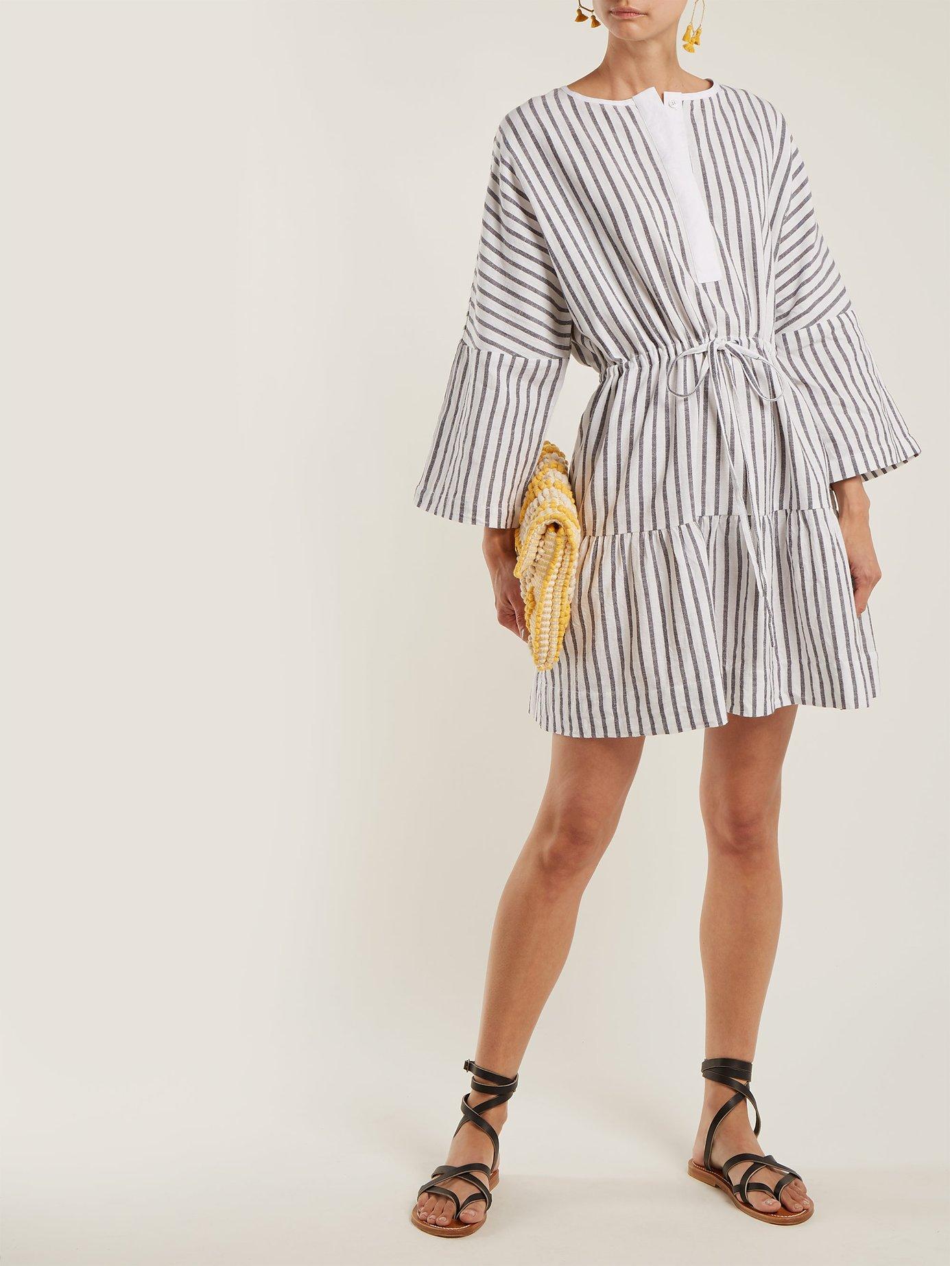 Drawstring cotton-flax mini dress by Wiggy Kit