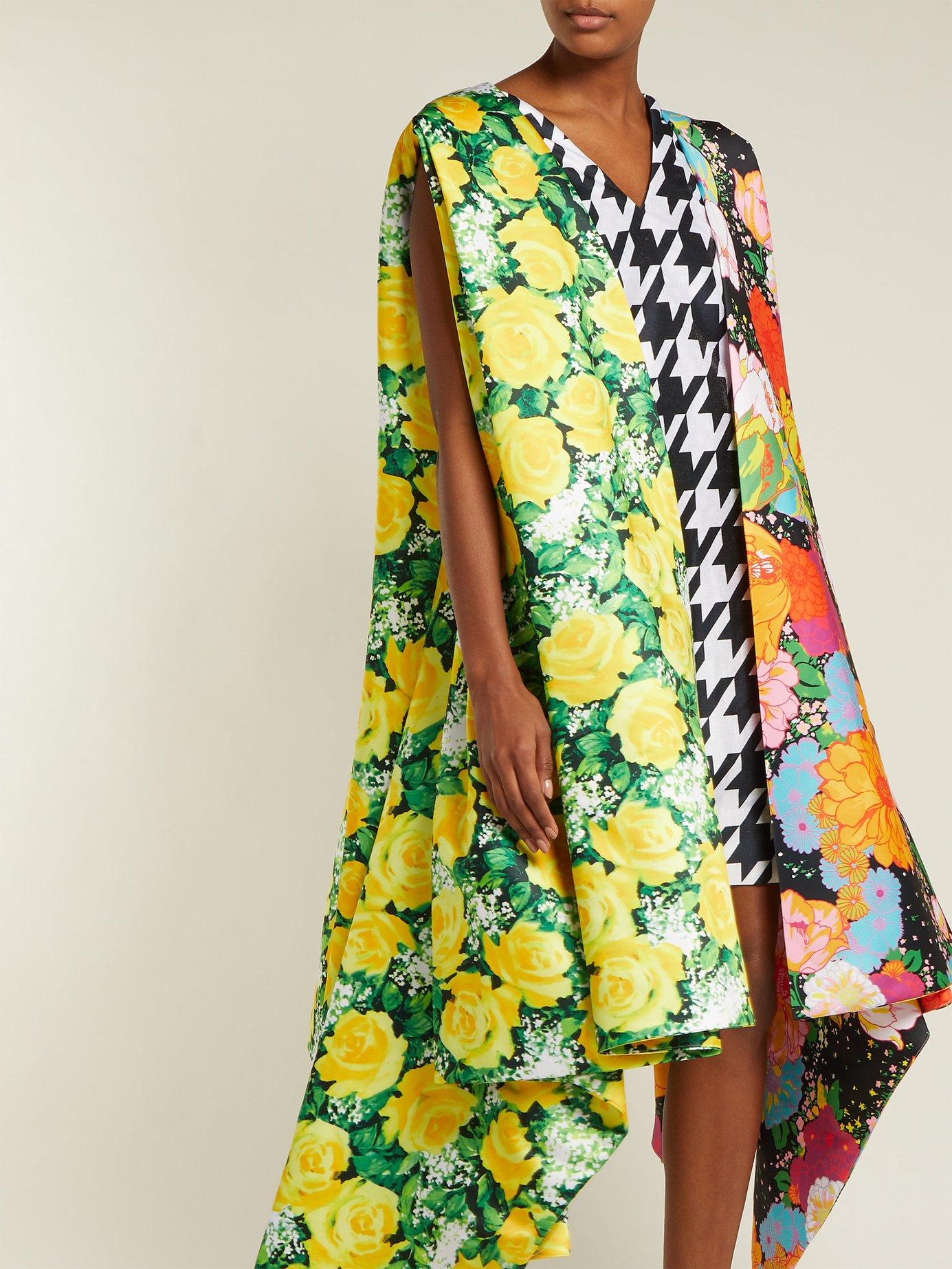 Contrasting print satin cape-dress by Richard Quinn