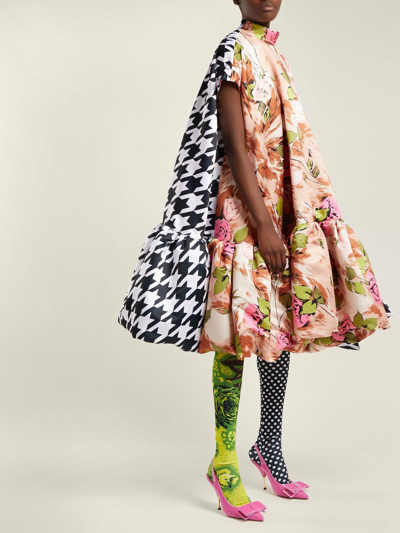 Contrasting-print A-line satin dress by Richard Quinn