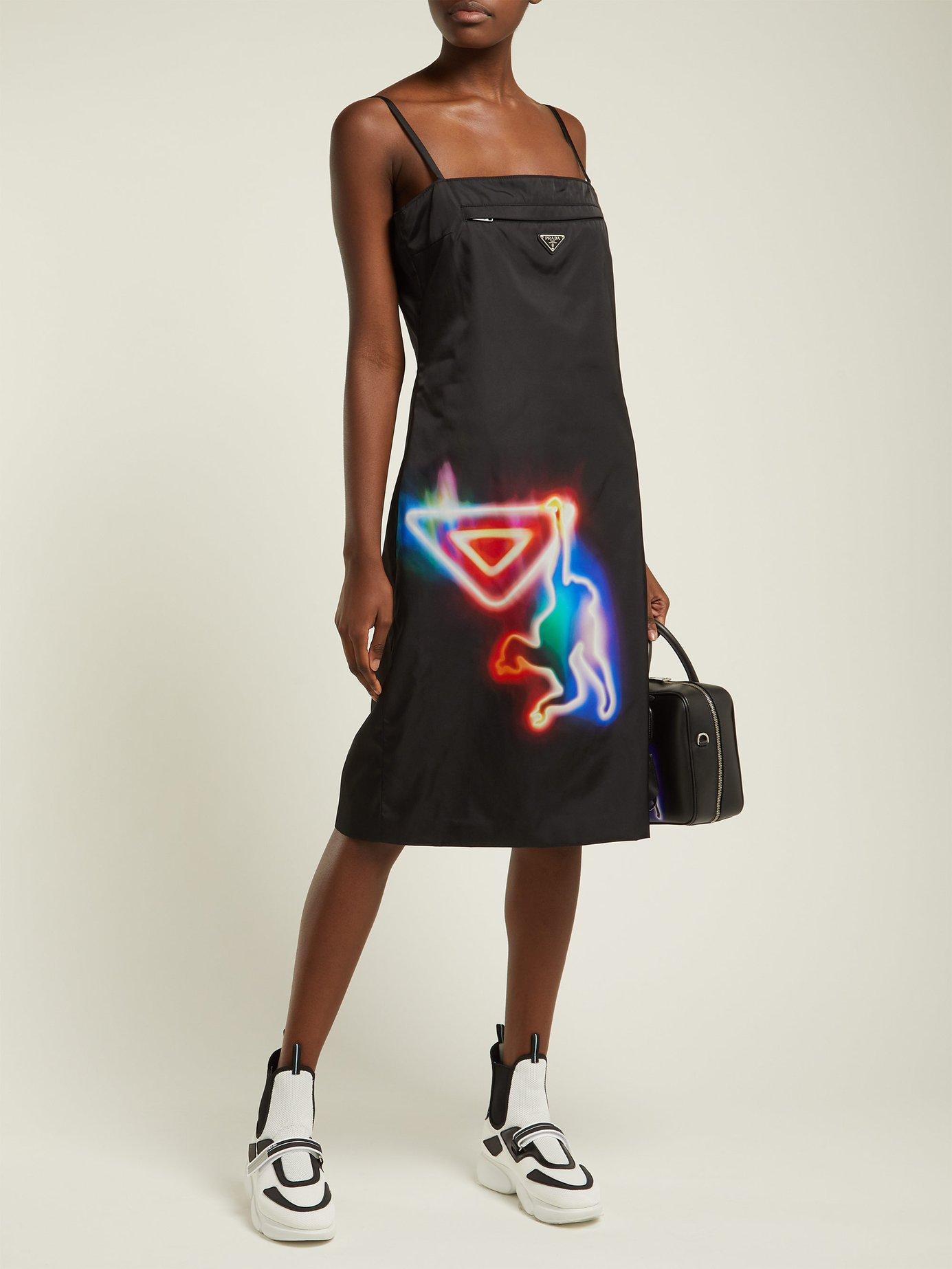 Neon monkey-print nylon midi dress by Prada