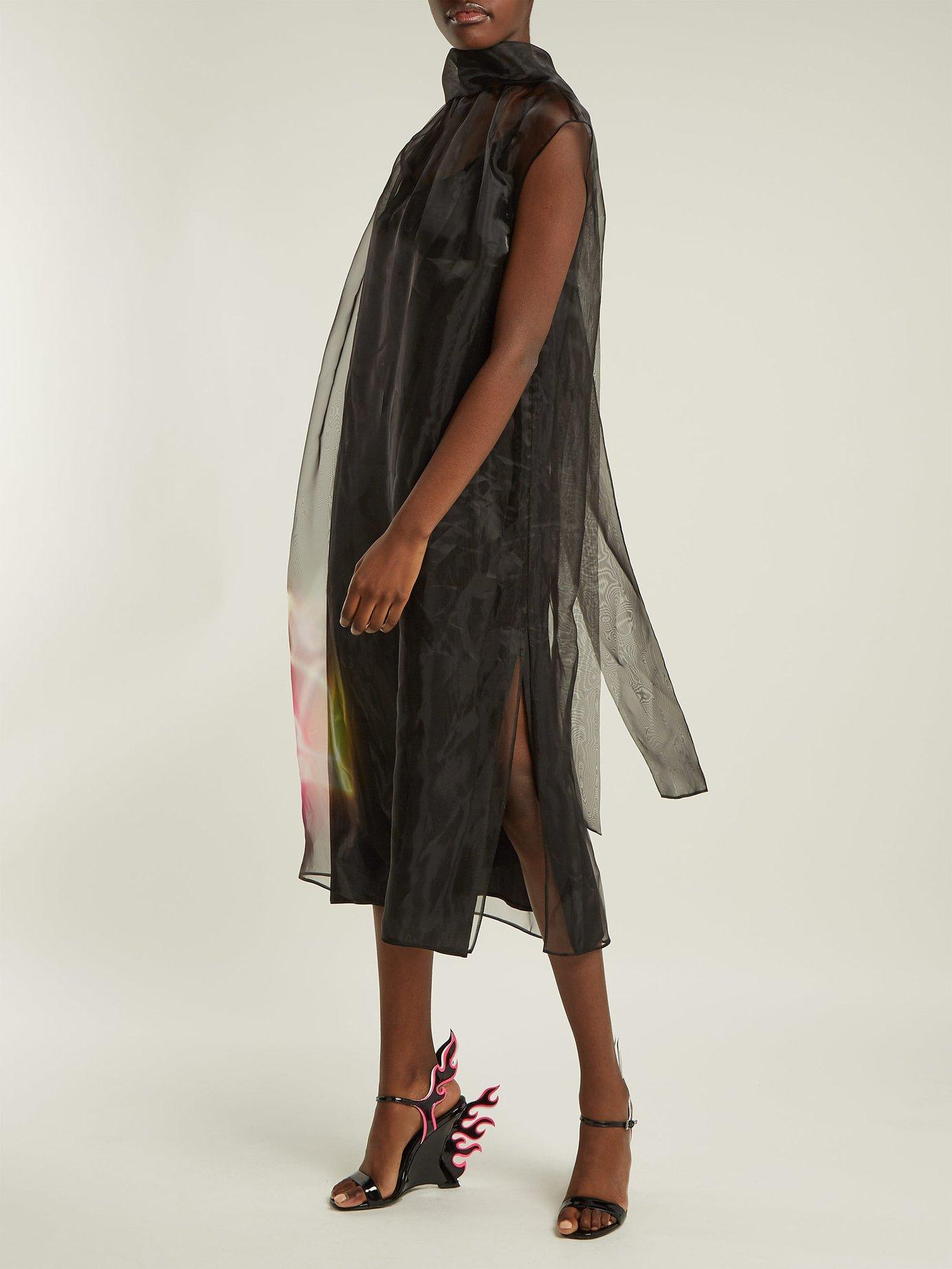 Neon rabbit-print silk-organza dress by Prada