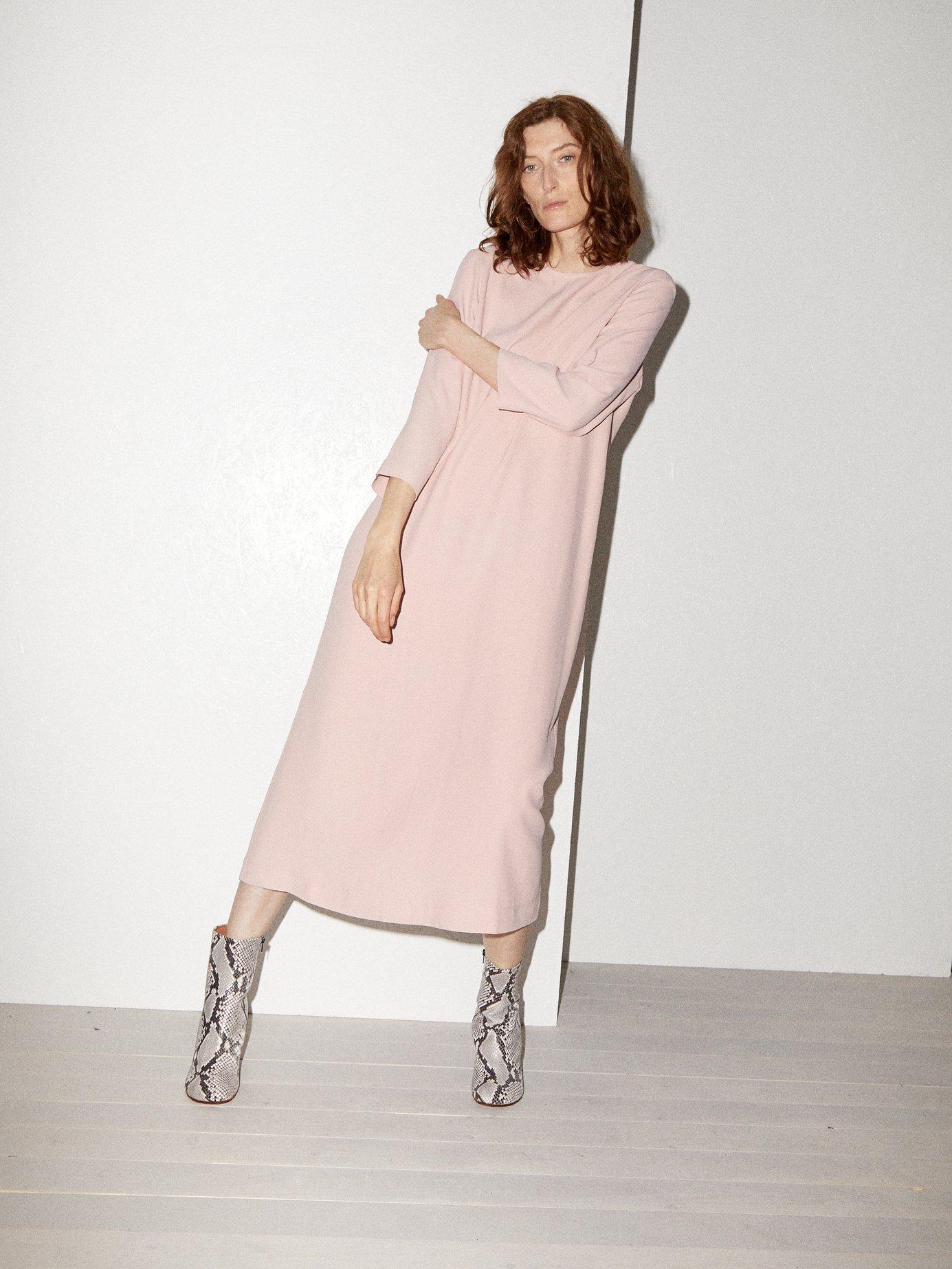 Bracelet-sleeve crepe midi dress by Raey
