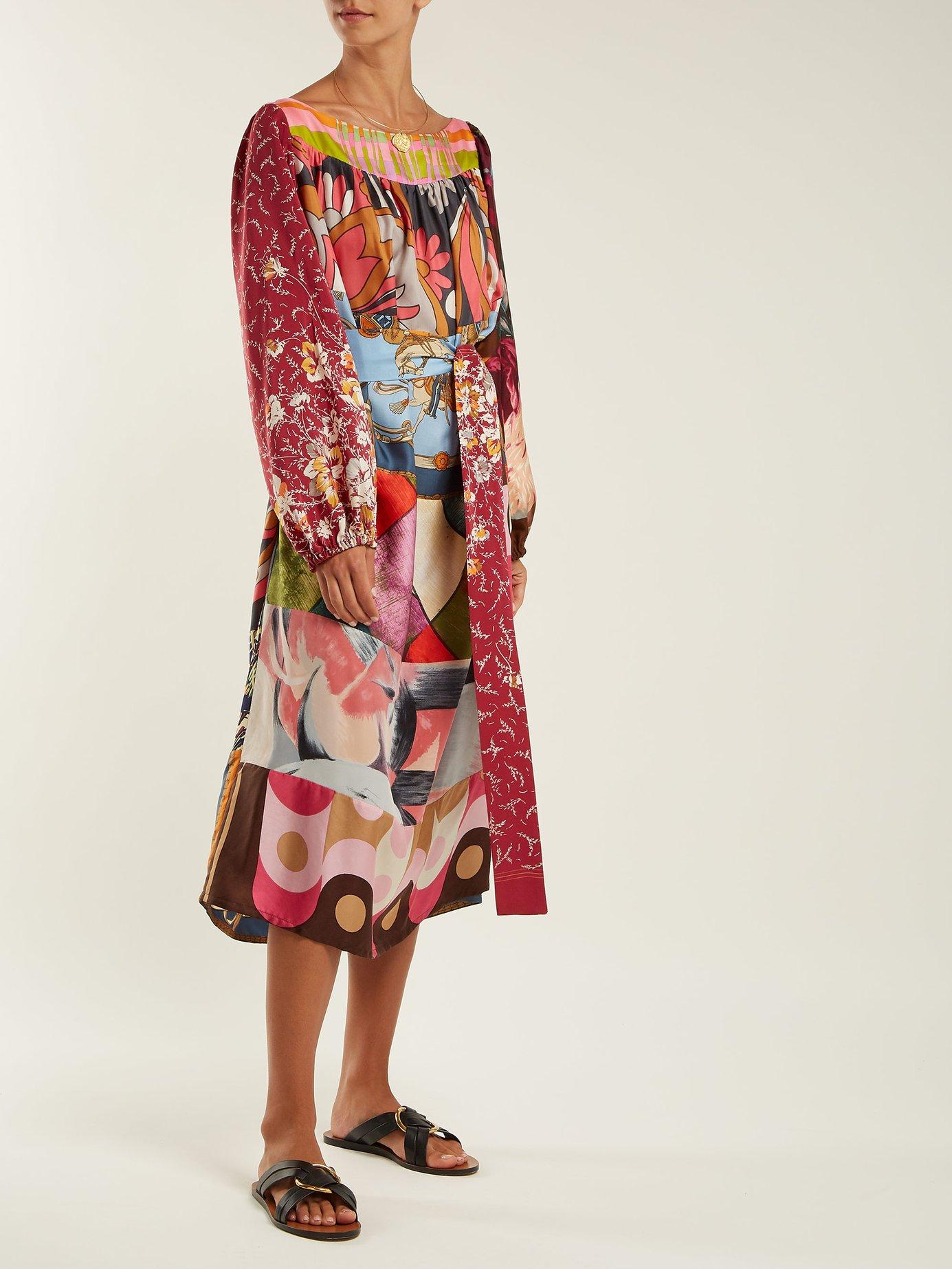 Patchwork vintage silk-twill dress by Rianna + Nina