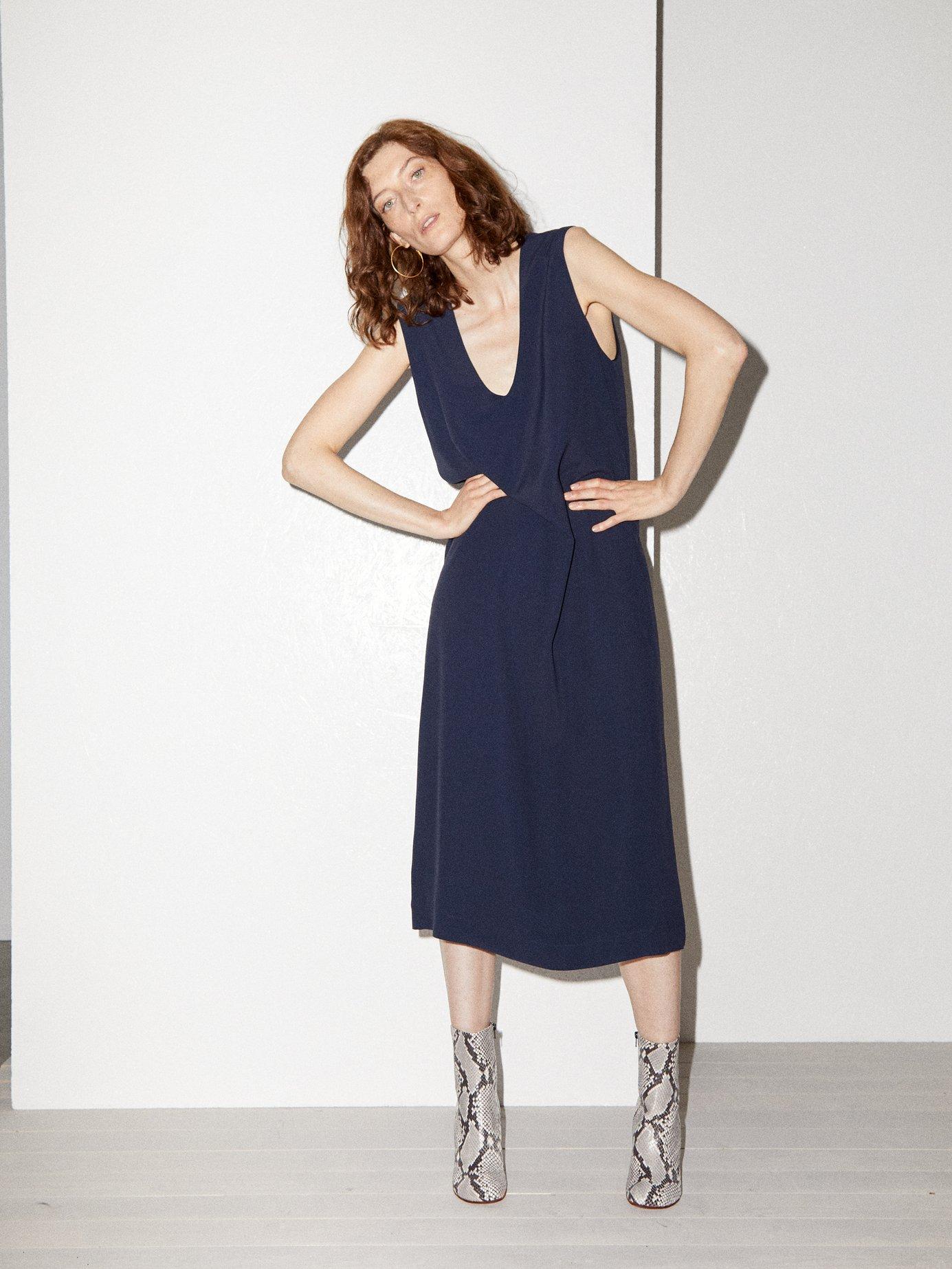 V-neck crepe pinafore dress by Raey
