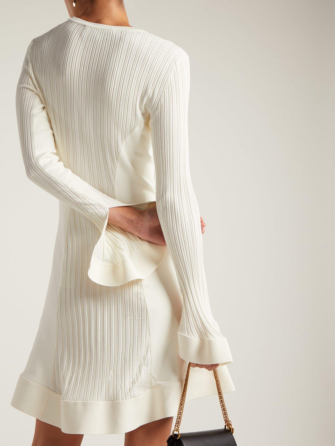 Rib-knit fluted midi dress by