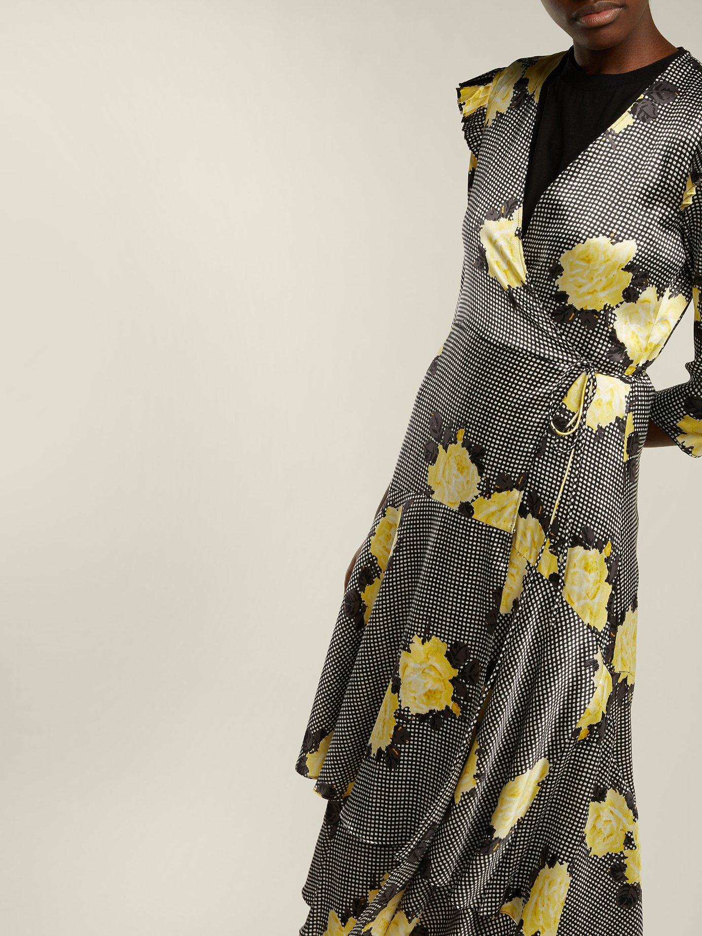 Calla silk-blend wrap dress by Ganni